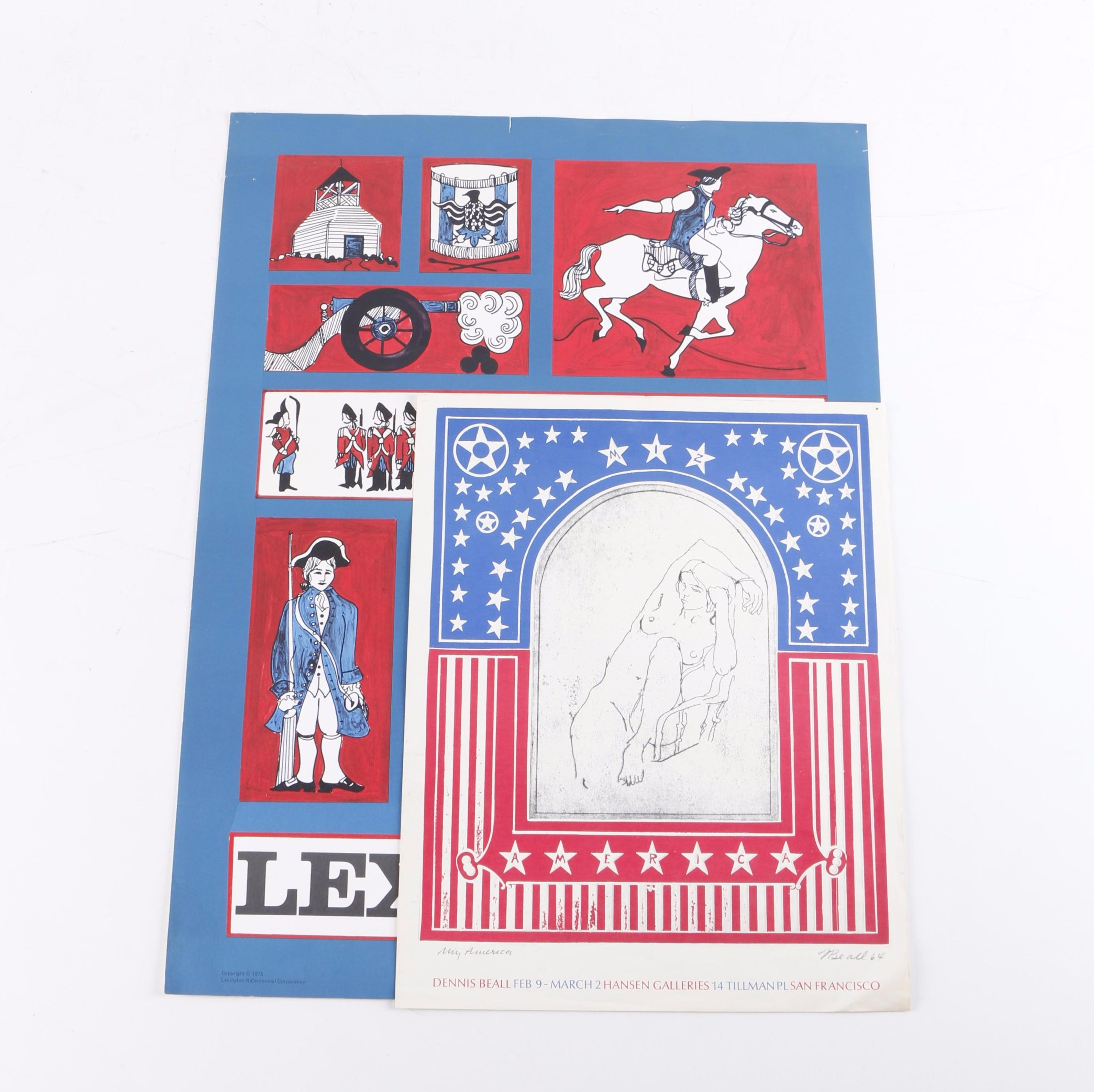 Offset Lithographs of Patriotic Themes Including Gracia P. Dayton Bicentennial Poster
