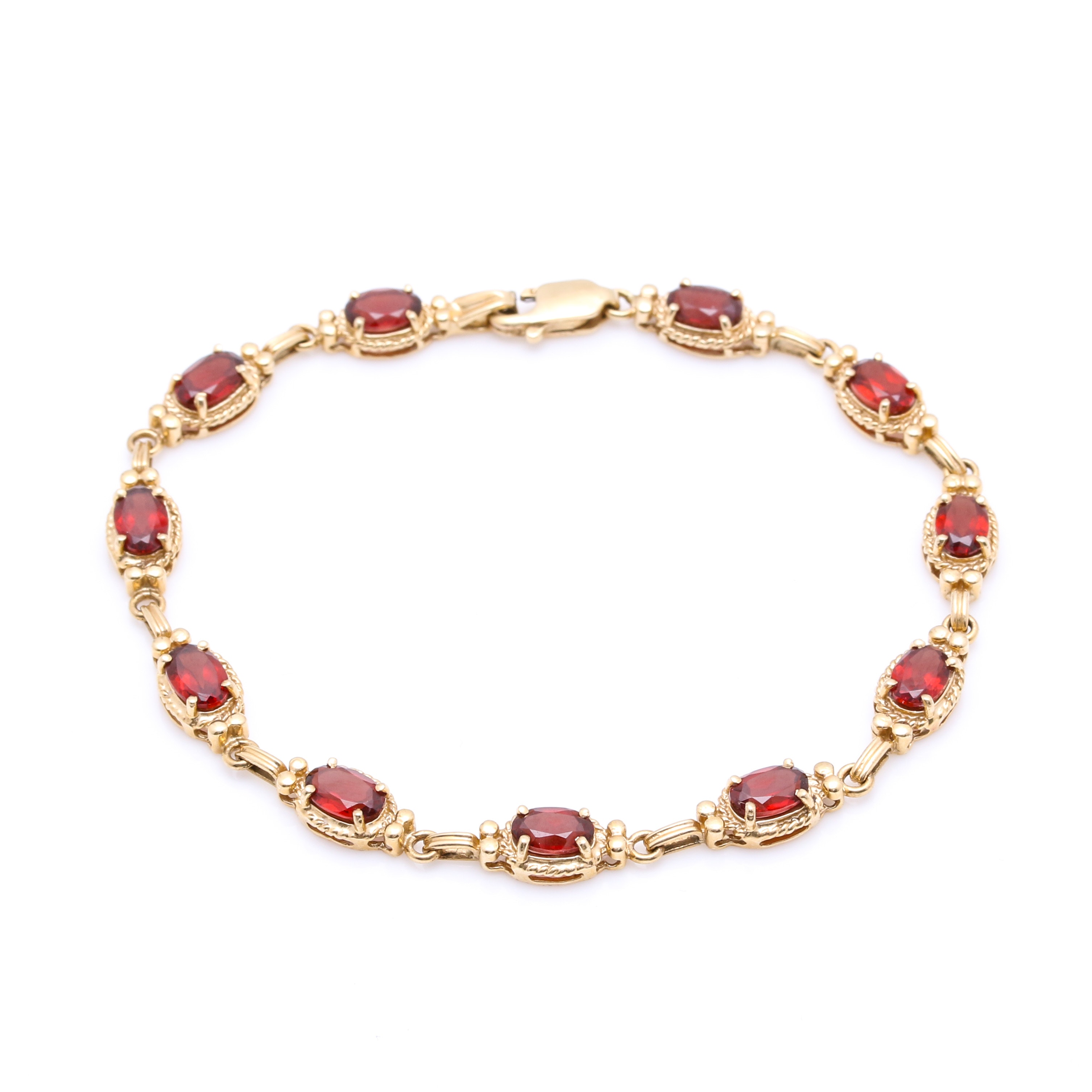 14K Yellow Gold and Garnet Bracelet