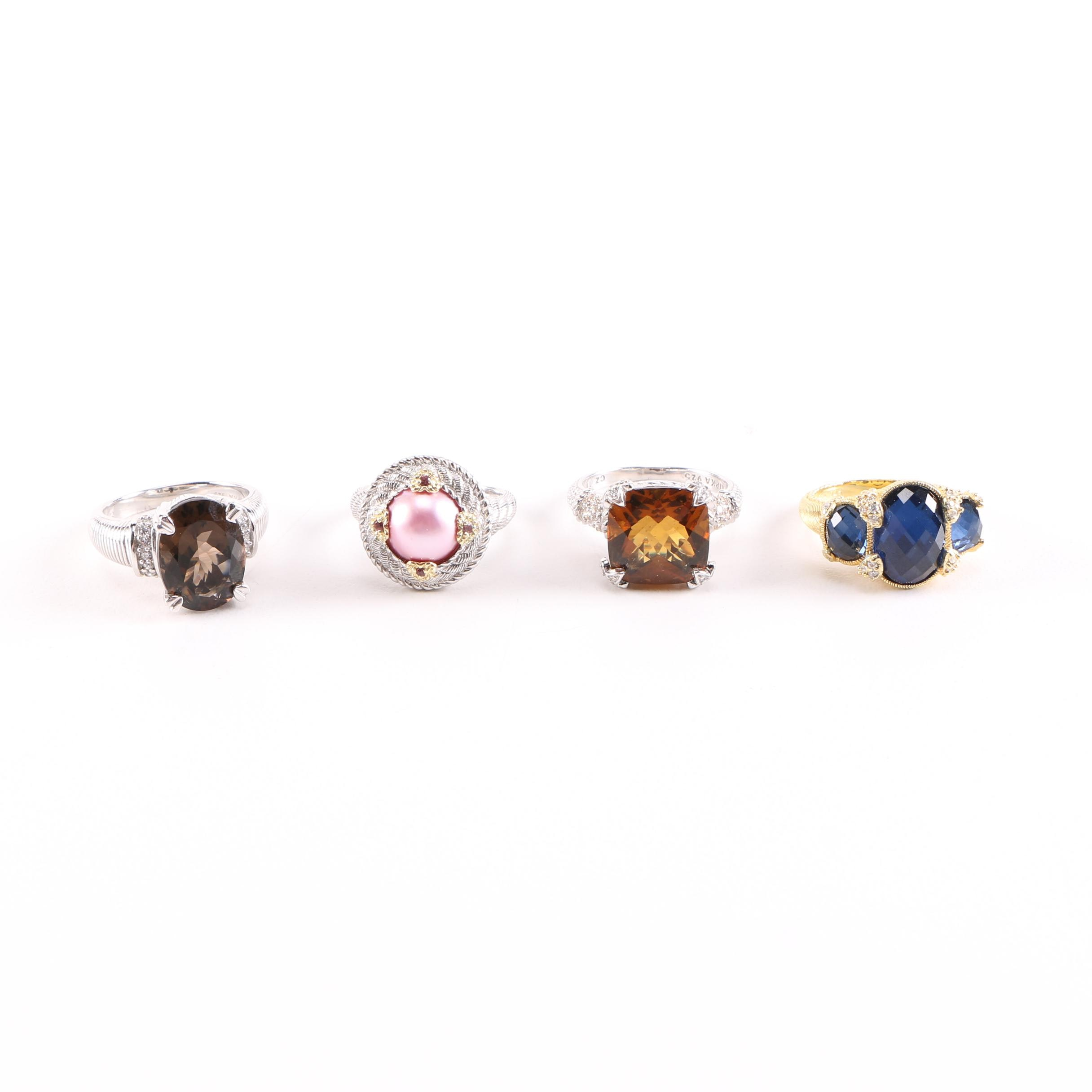 Judith Ripka Sterling Silver Rings Featuring Gemstones and Cultured Pearl