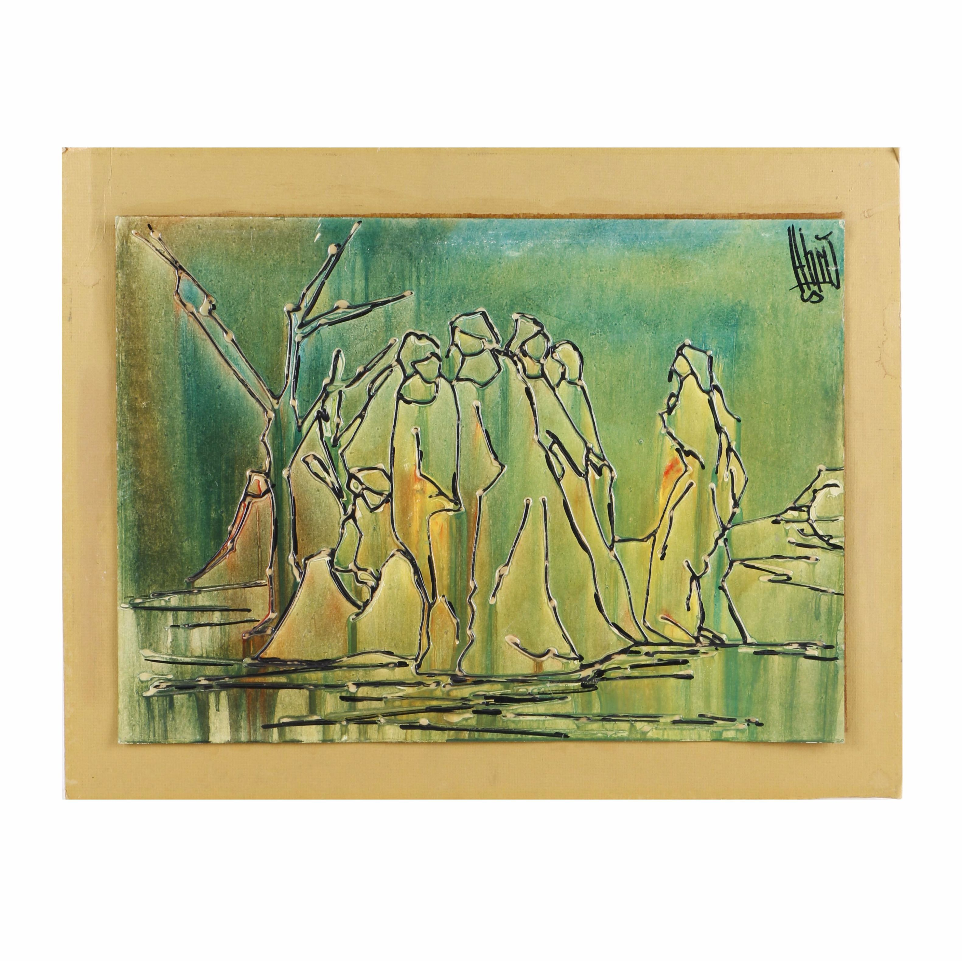 Mixed Media Painting on Paperboard of Abstract Figures