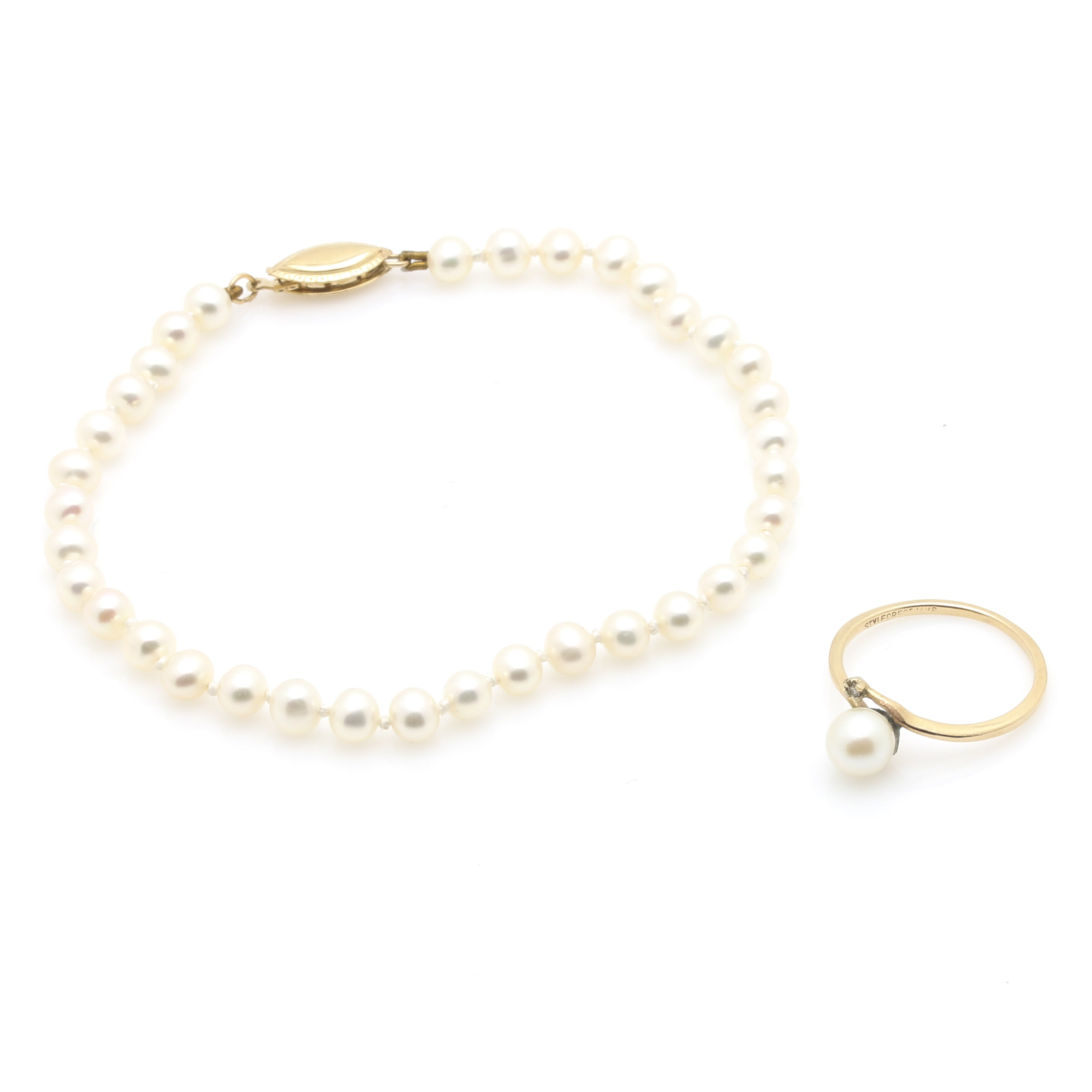 14K Yellow Gold Pearl Bracelet and Pearl Diamond Ring