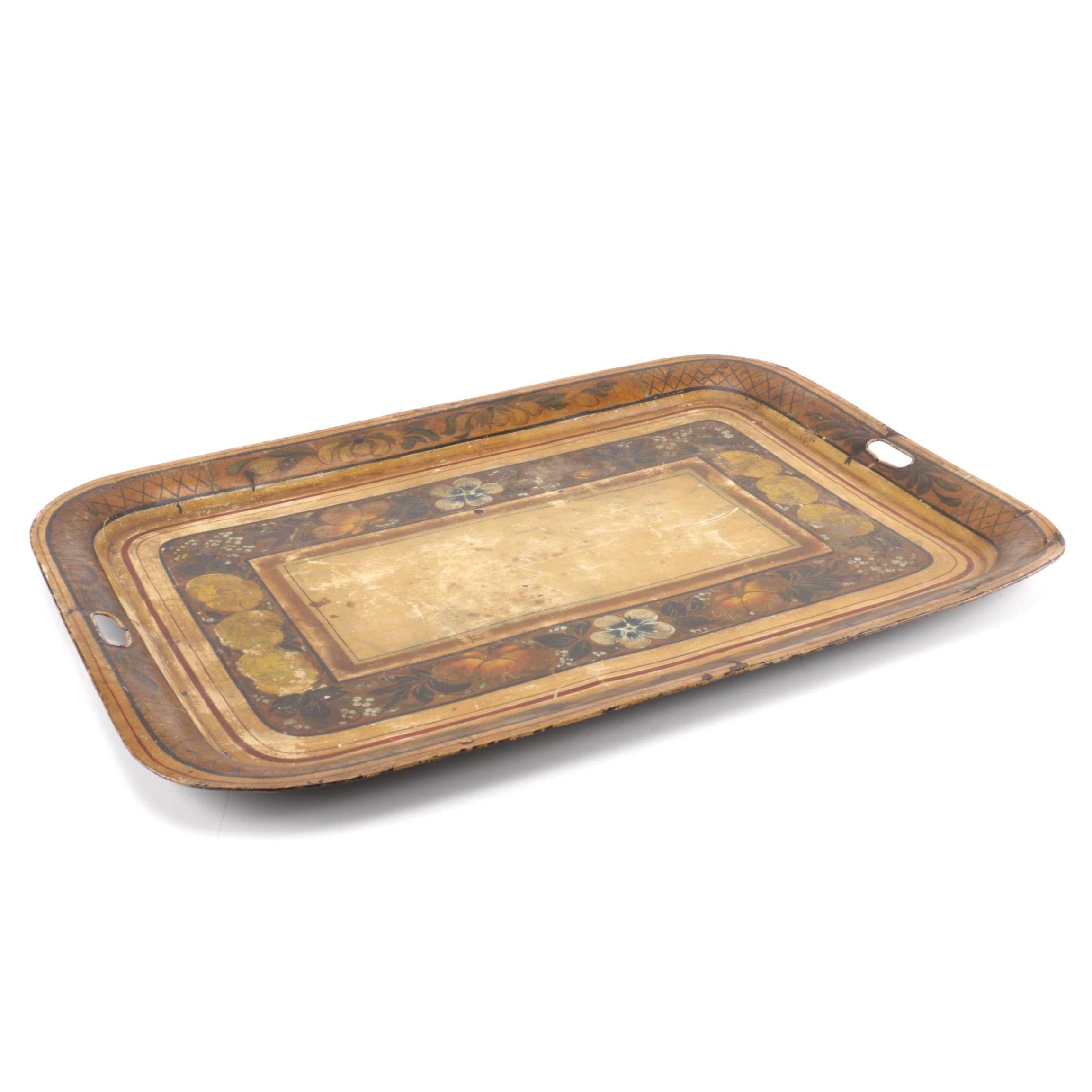 Brown and Beige Floral Tray