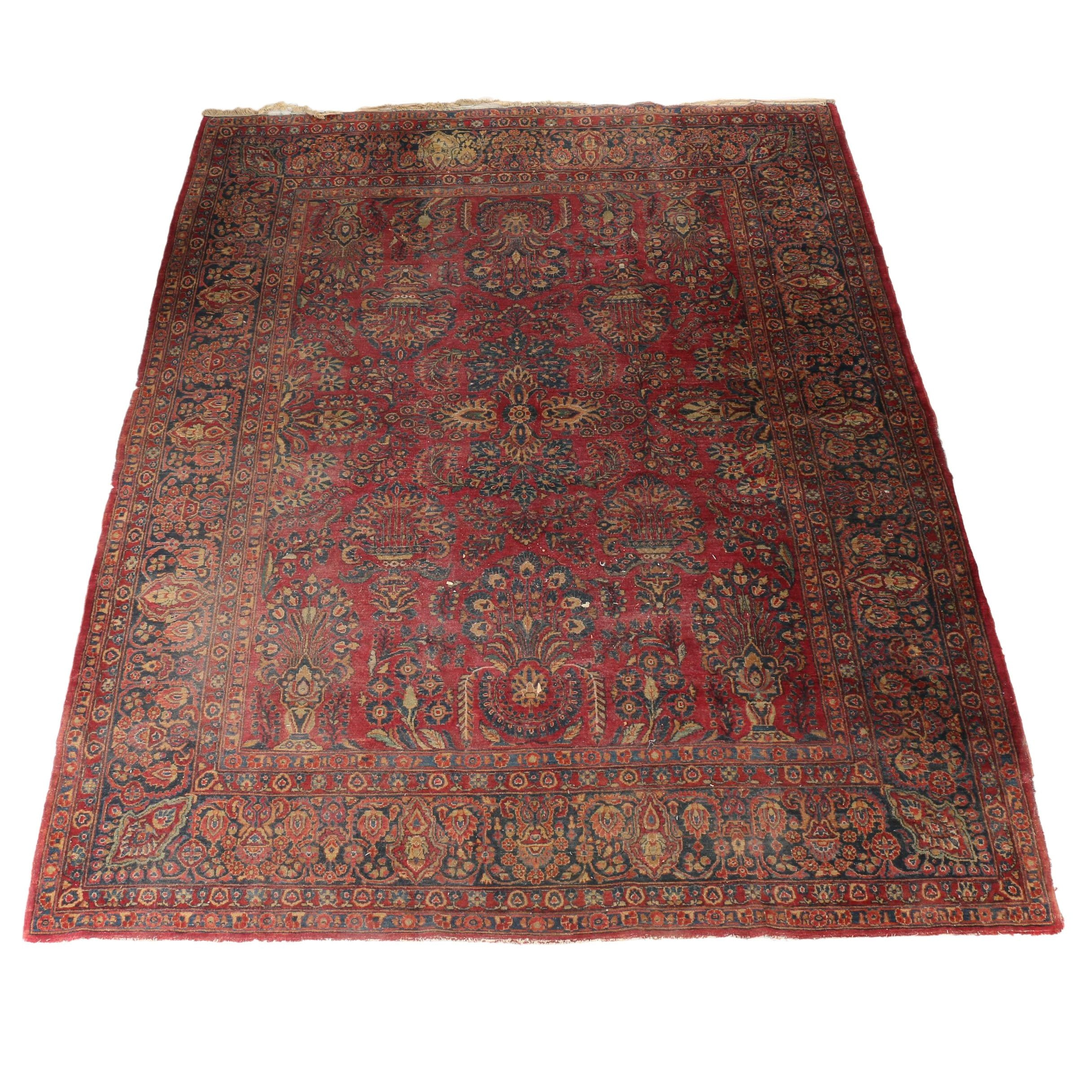 Hand-Knotted Sarouk Style Area Rug