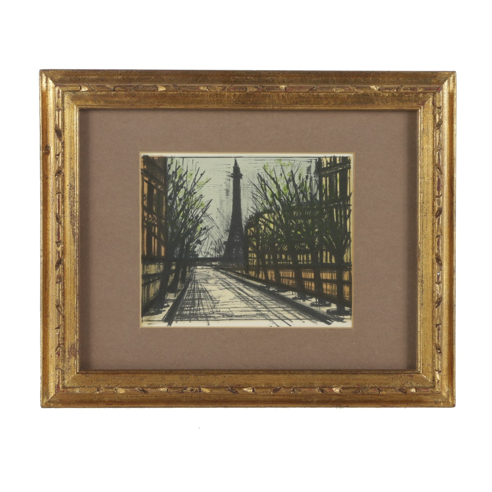"After Bernard Buffet Halftone Print on Paper ""La Tour Eiffel"""