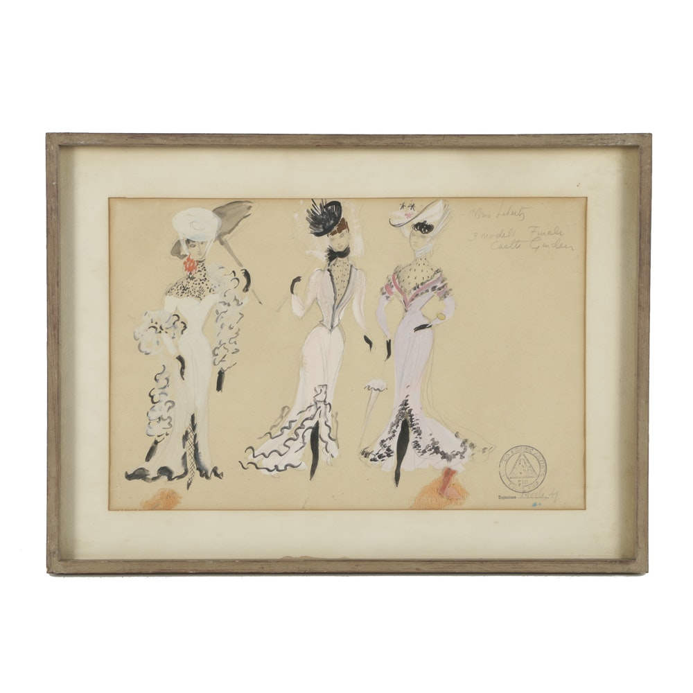 Mixed Media Fashion Illustration on Paper Early 1900s Dresses