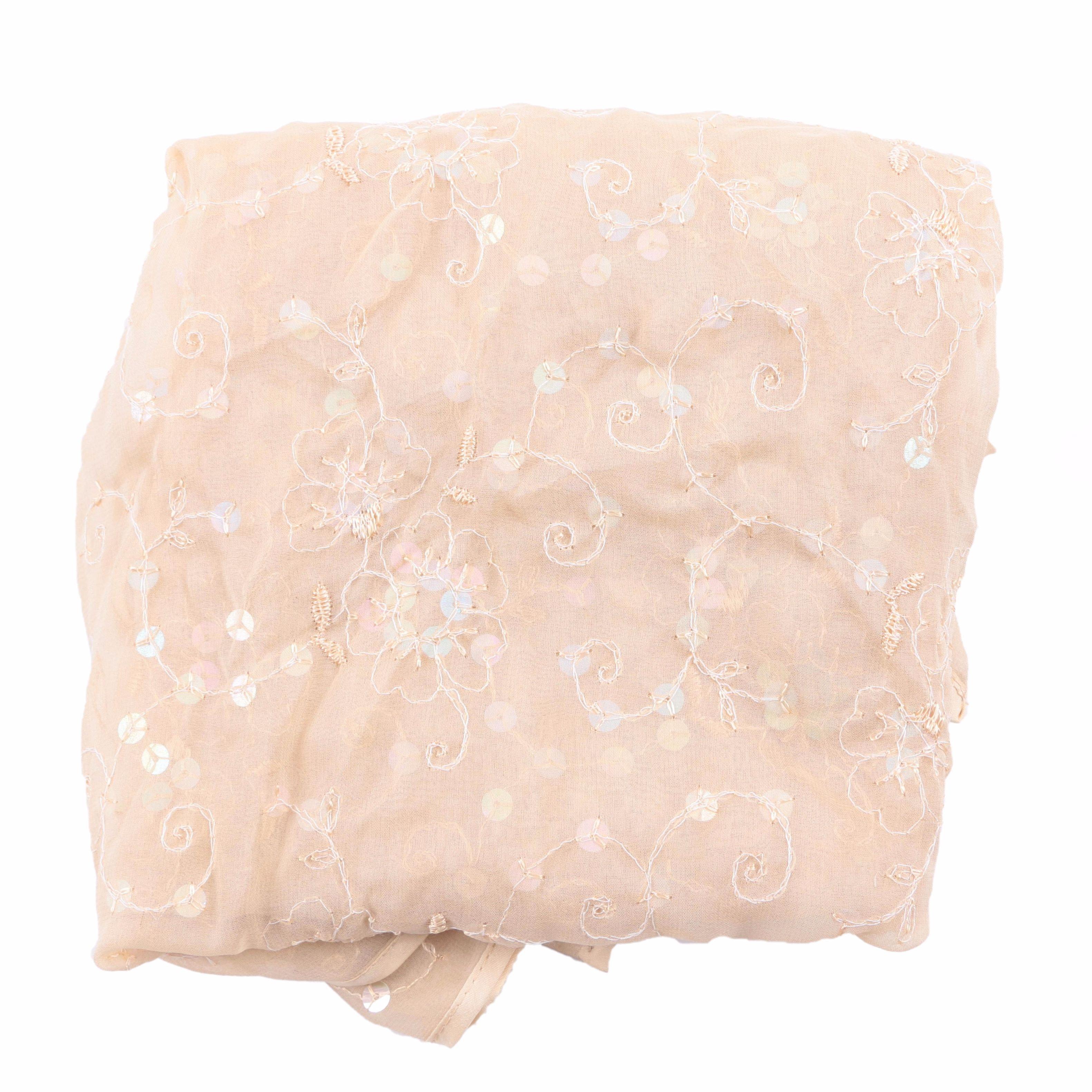 Sheer Floral Sequin Scarf