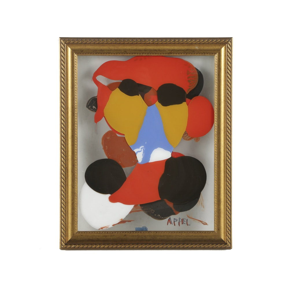 "Attributed to Karel Appel Oil Painting Between Glass ""Boy on Bike"""