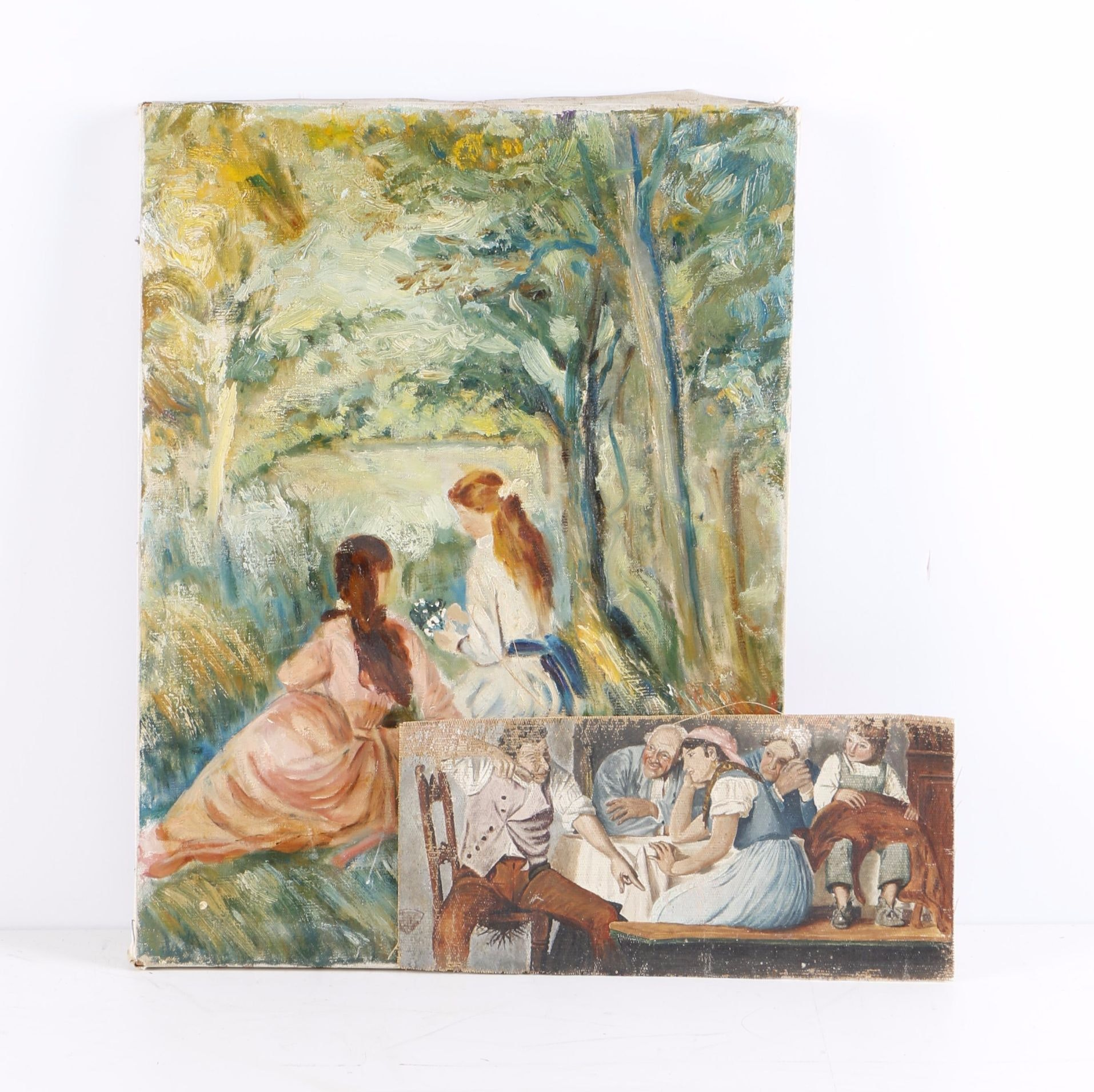 """Oil Paintings on Canvas Including Study After Auguste Renoir """"In the Meadow"""""""