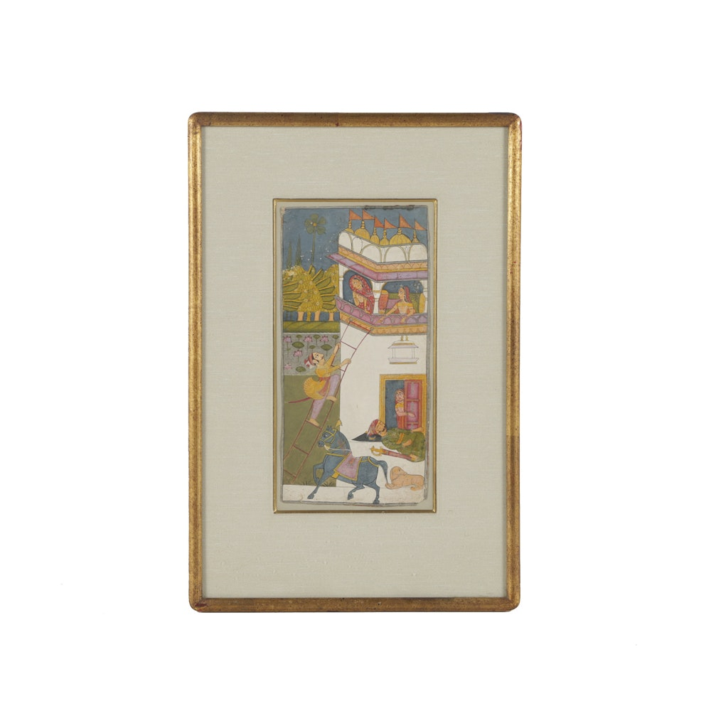 Antique Indian Miniature Painting on Paper House of Women