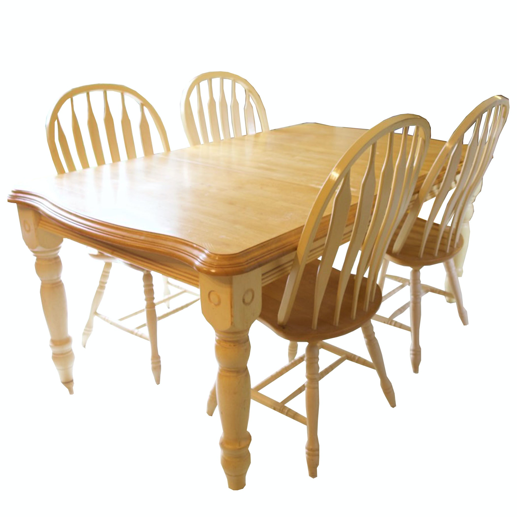 French Country Dining Table and Four Windsor Chairs