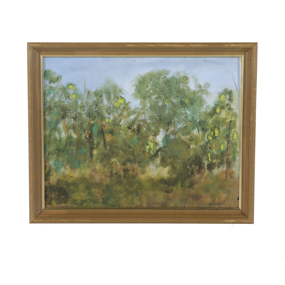 Vargas Oil Painting on Canvas Panel of Woodland Landscape