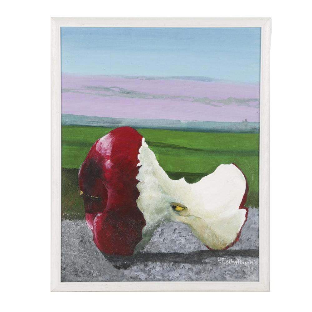 P. Eschelbach Acrylic Painting on Canvas Apple in Landscape