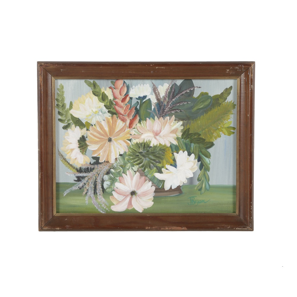 J. Bryan Acrylic Painting on Canvas Board Floral Still Life