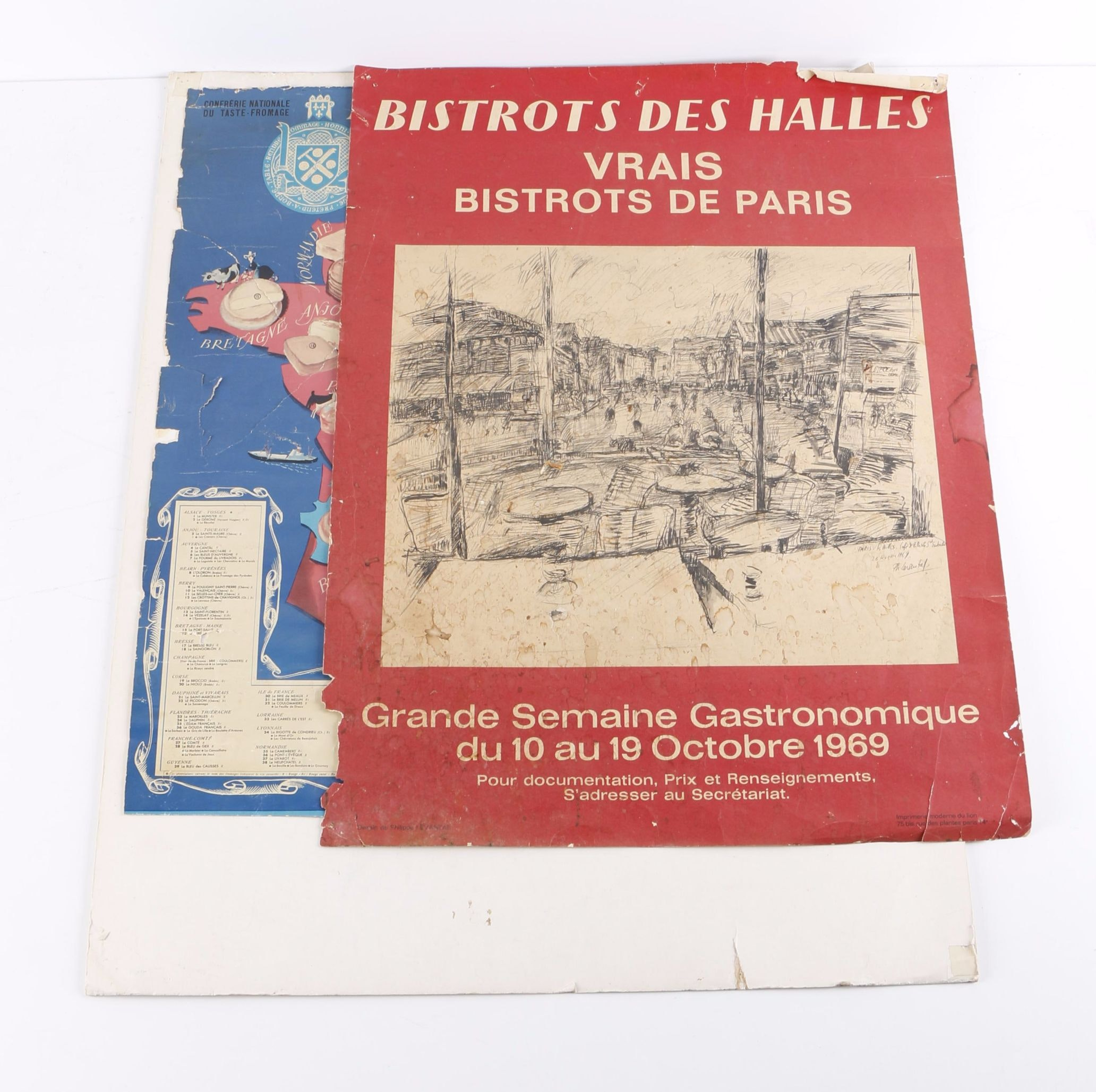 Offset Lithograph Posters on Paper of French Cheeses and Pubs