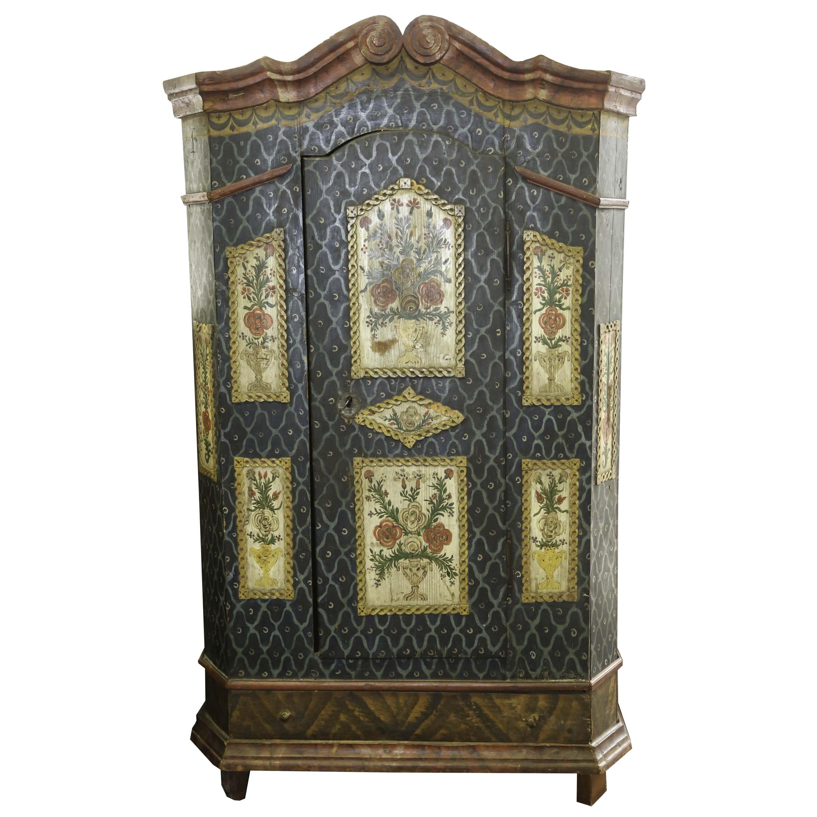 Circa 1850 Antique Austrian Paint Decorated Wardrobe