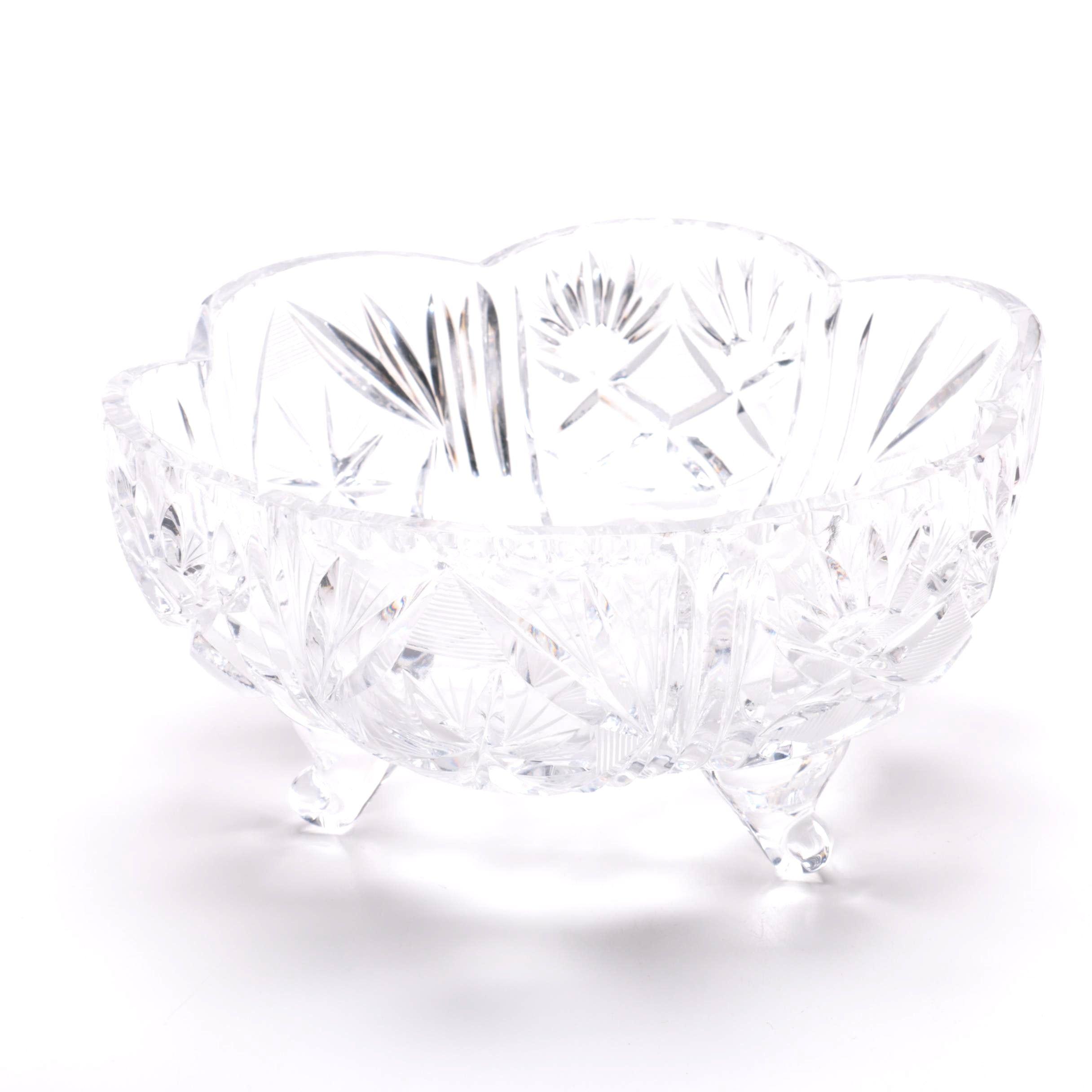 Vintage Hand-Cut Footed Crystal Bowl