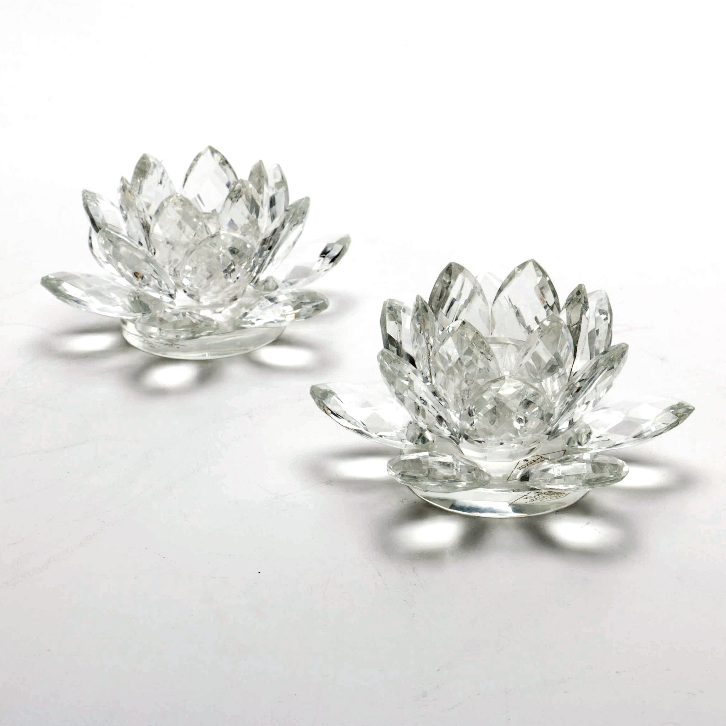Set of Shannon Crystal Lotus Candleholders