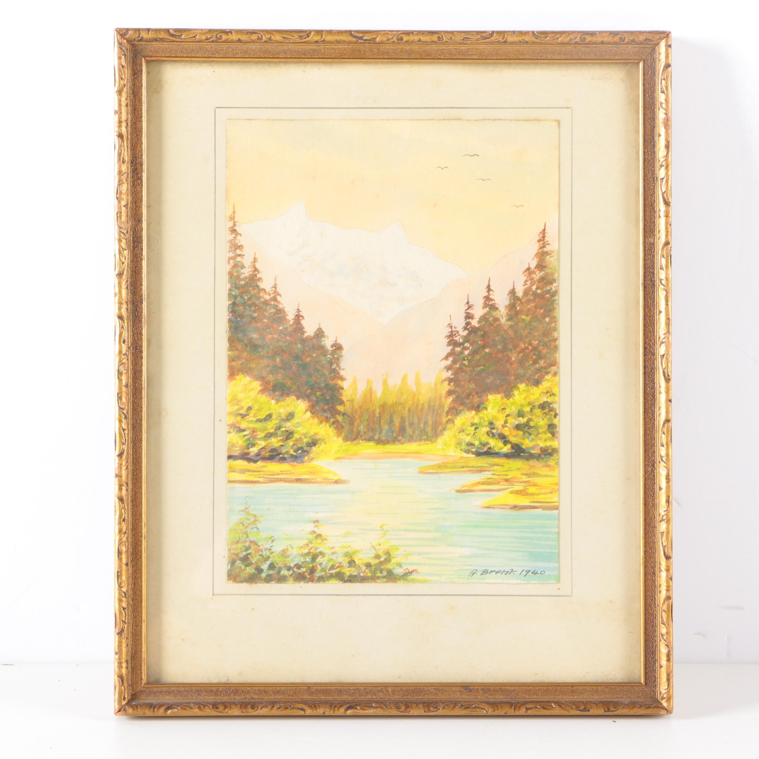 A. Brent Watercolor Painting on Paper of Landscape