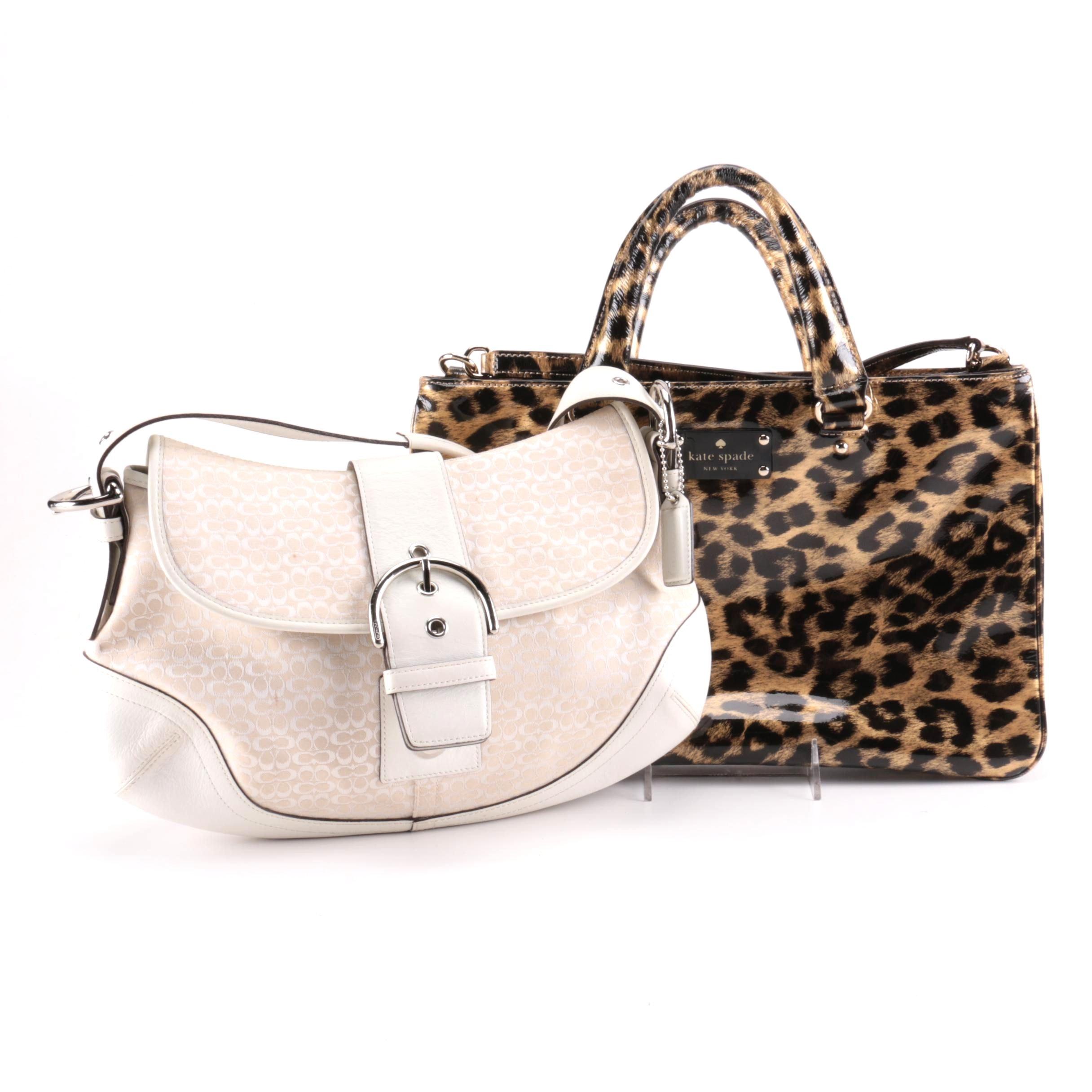 Coach Demi Hobo Shoulder Bag and Kate Spade Brett Leopard Print Purse