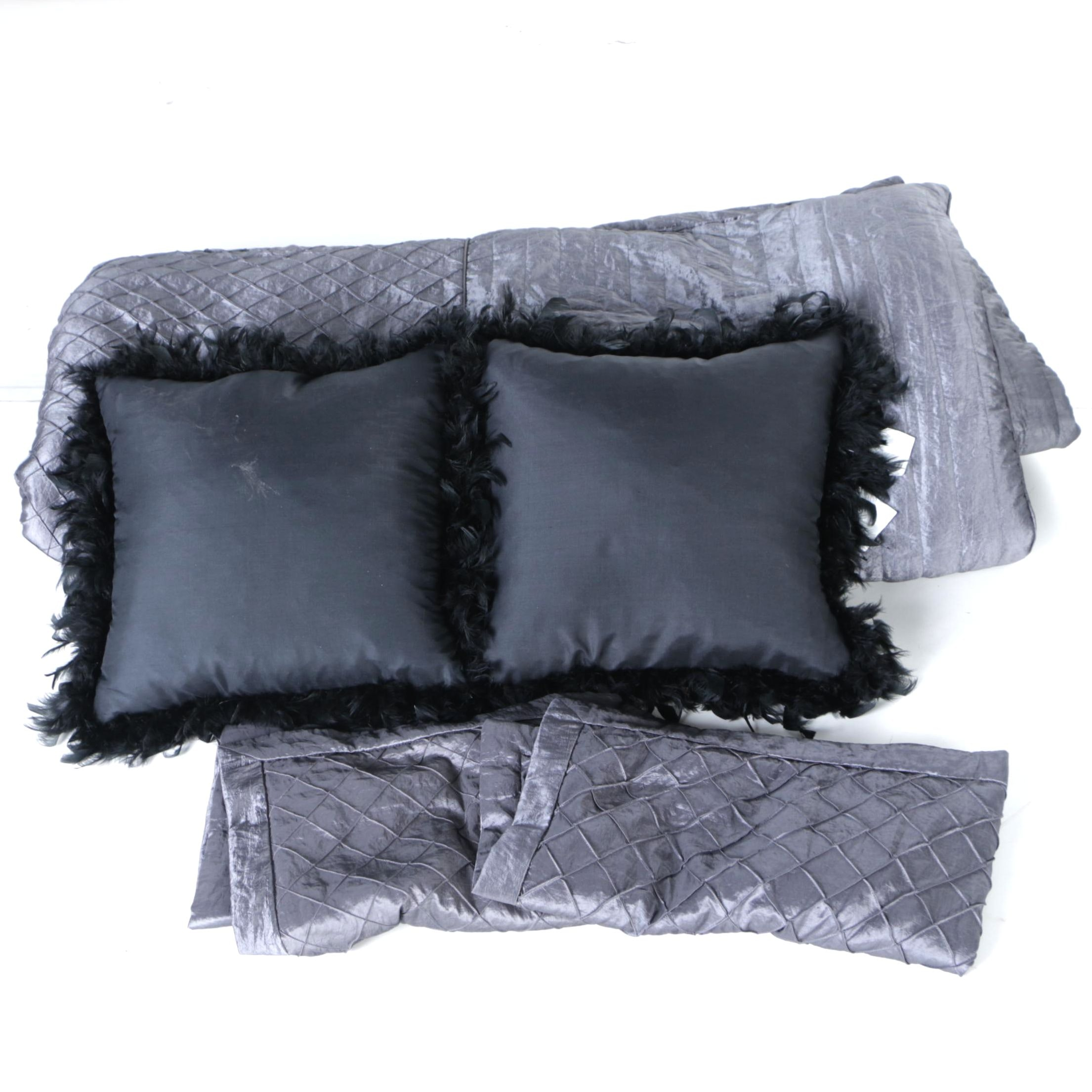 Queen Size Bedding with Two Black Throw Pillows