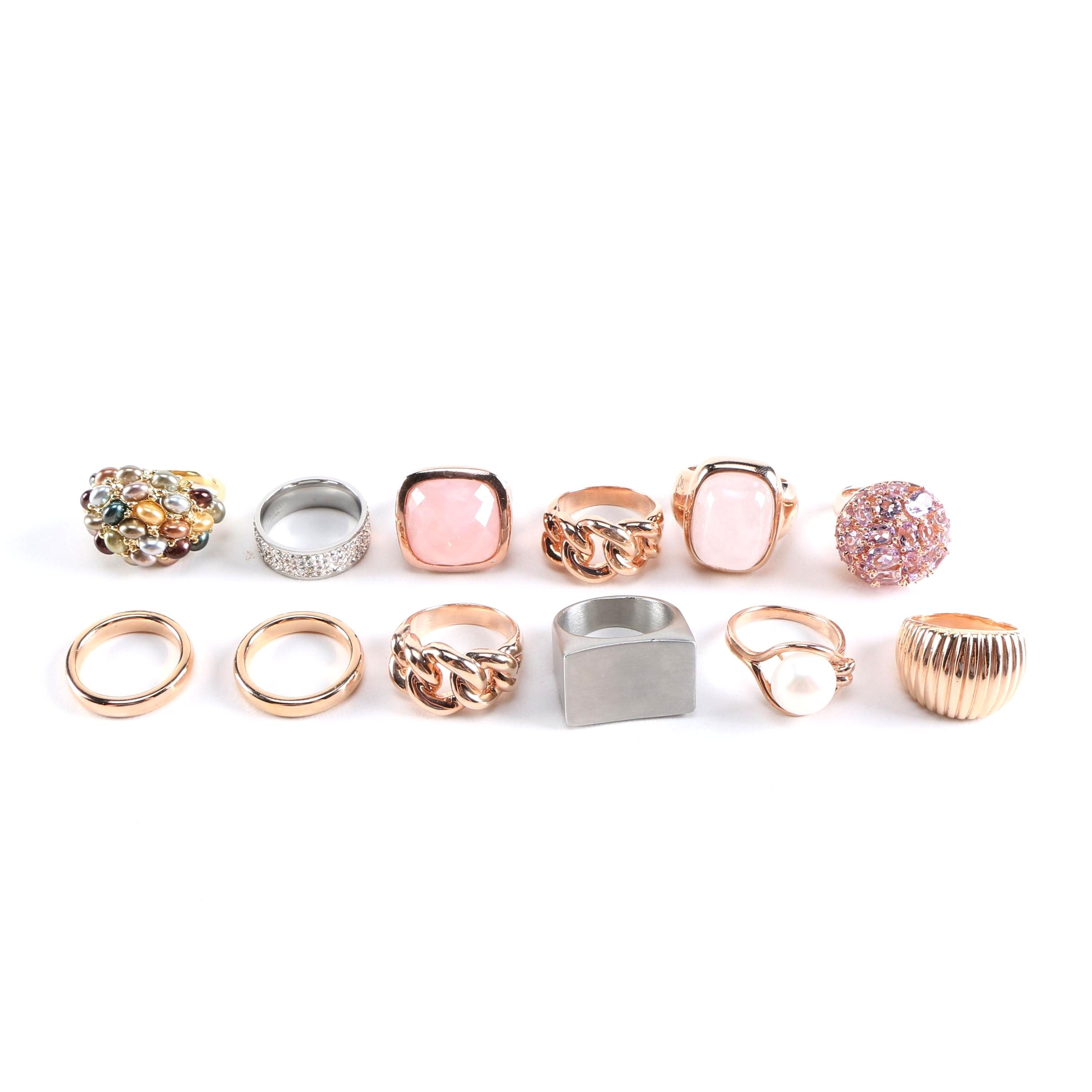 Stainless Steel and Bronze Rings With Gemstones, Pearls, and Glass Featuring Milor, Kenneth Jay Lane, and Bronzallure
