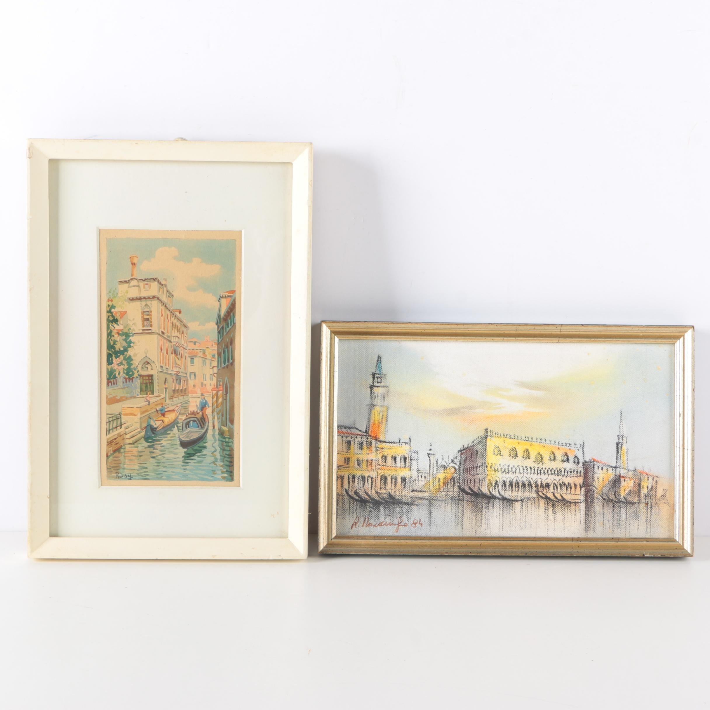 Watercolor and Oil Paintings of Venice