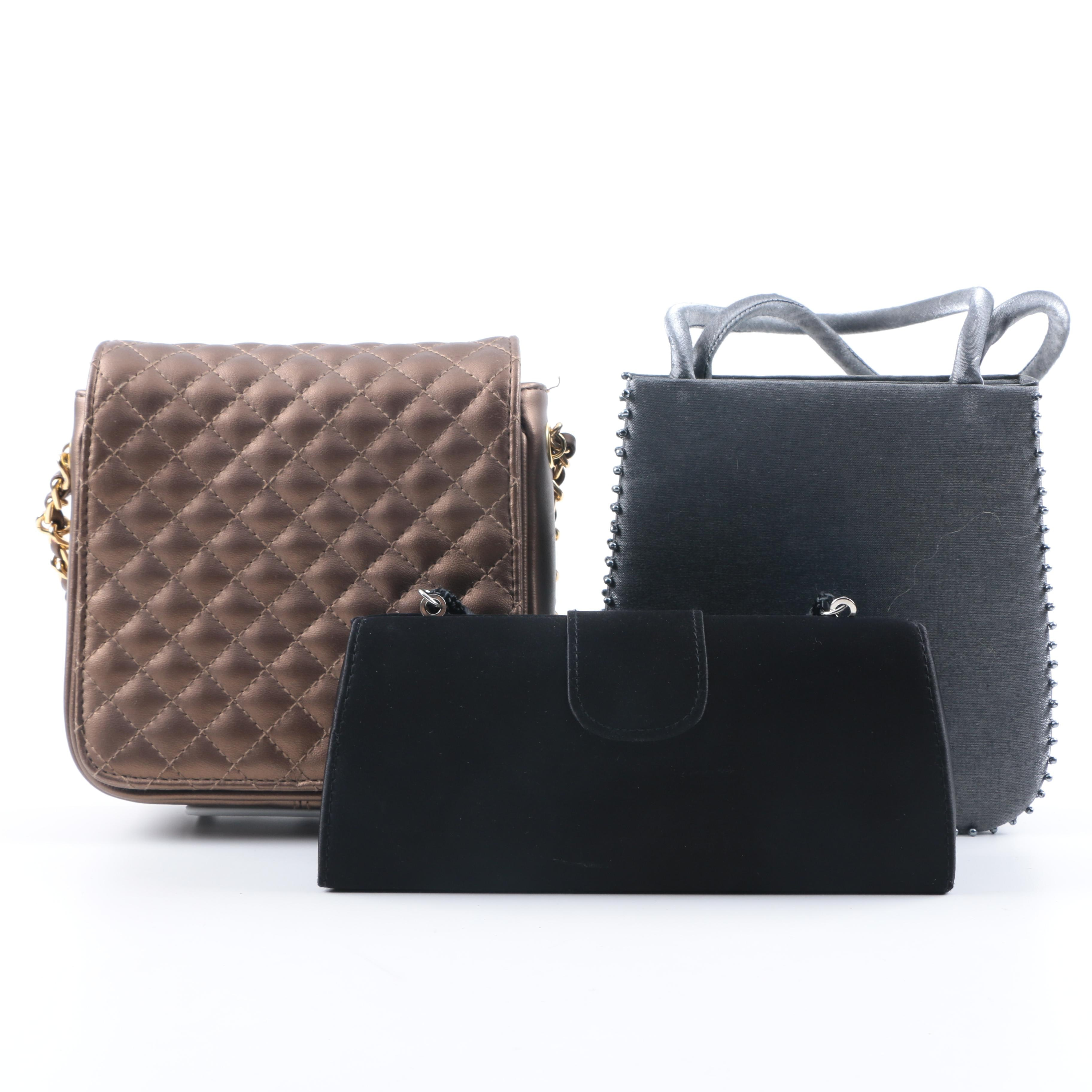 Handbags in Taupe, Grey, and Black