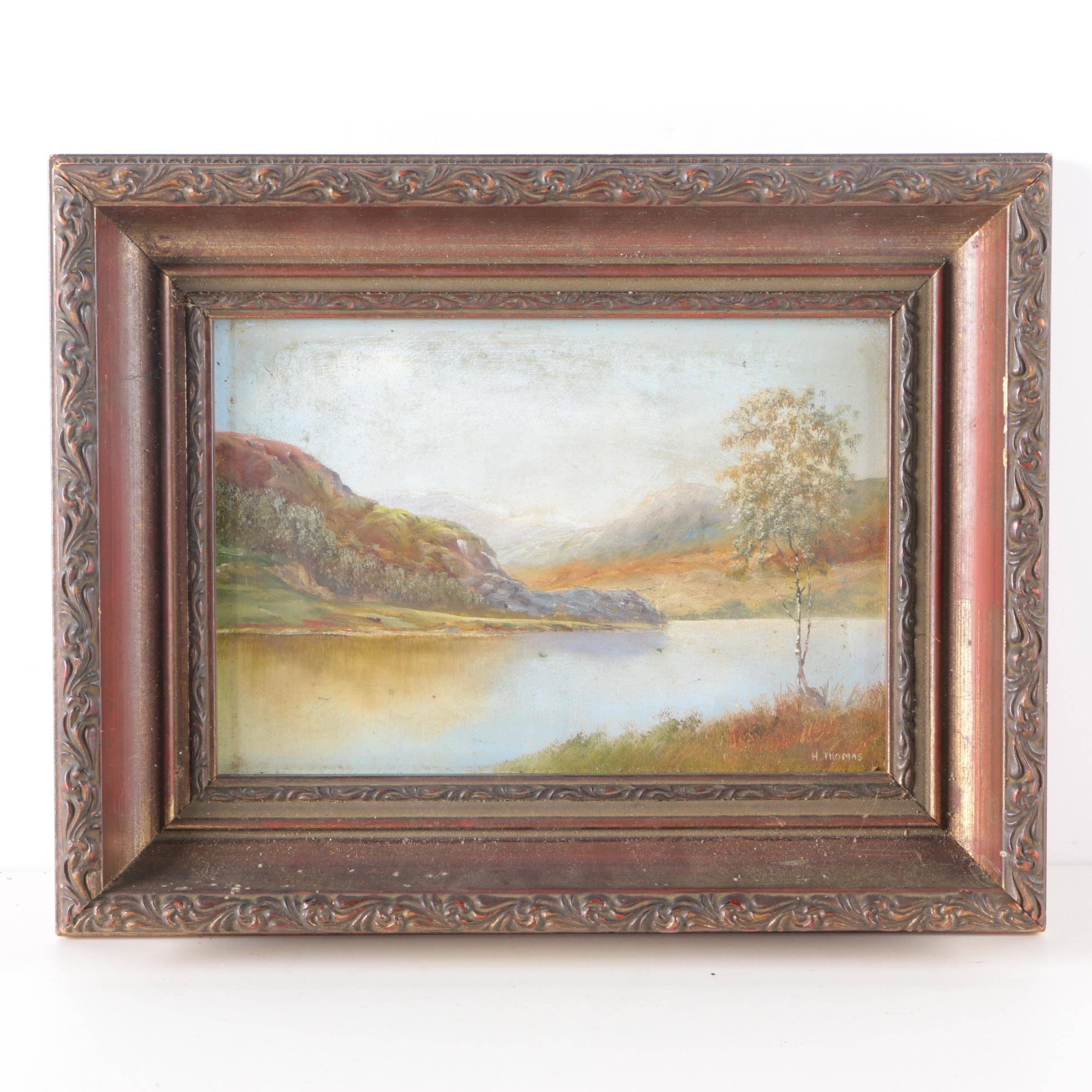 H. Thomas Oil Landscape Painting on Board