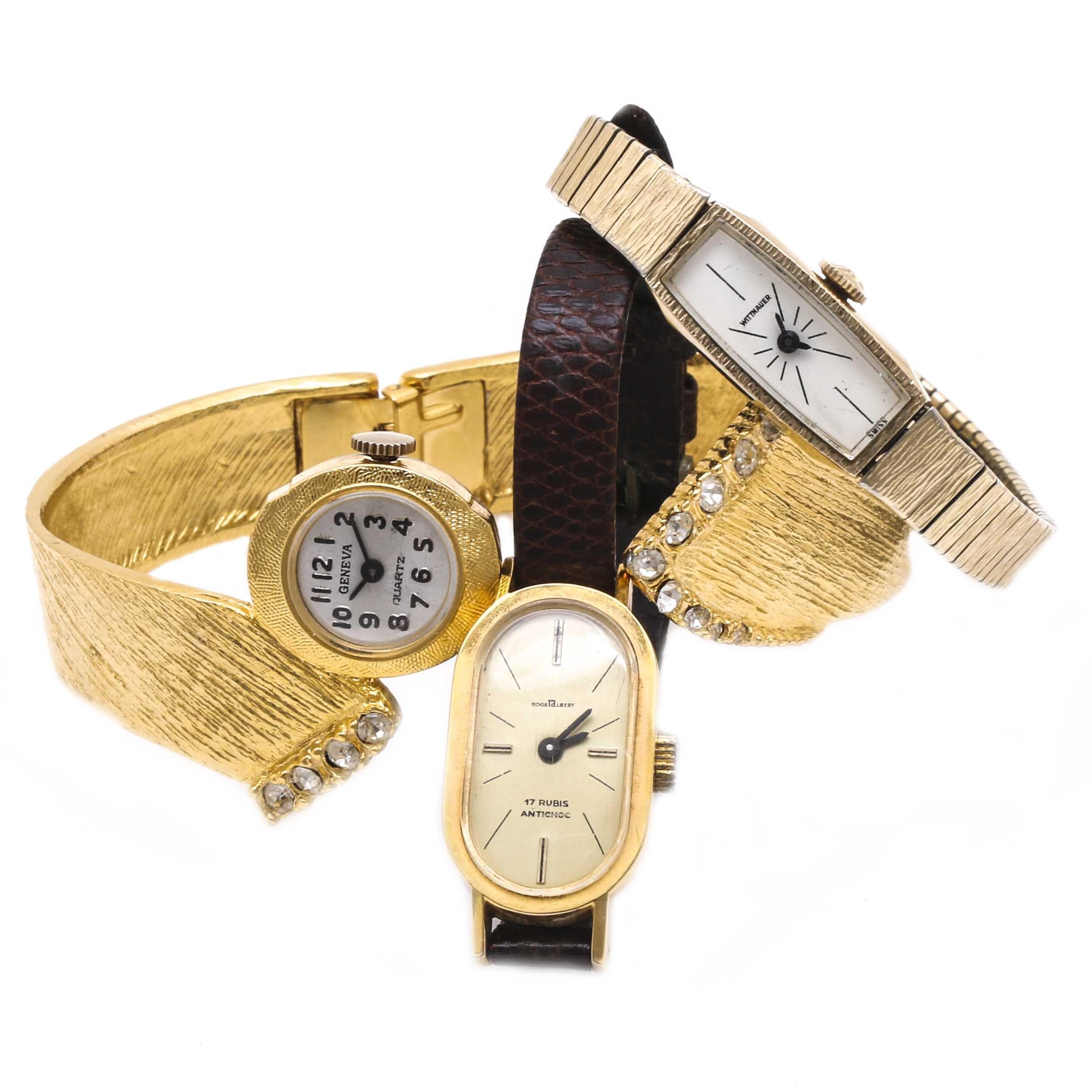 Gold Tone Wristwatch Assortment Including Geneva