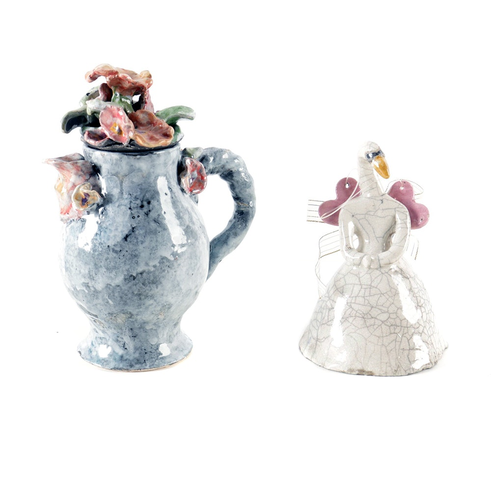 Handmade Ceramic Floral Pitcher and Swan Bell