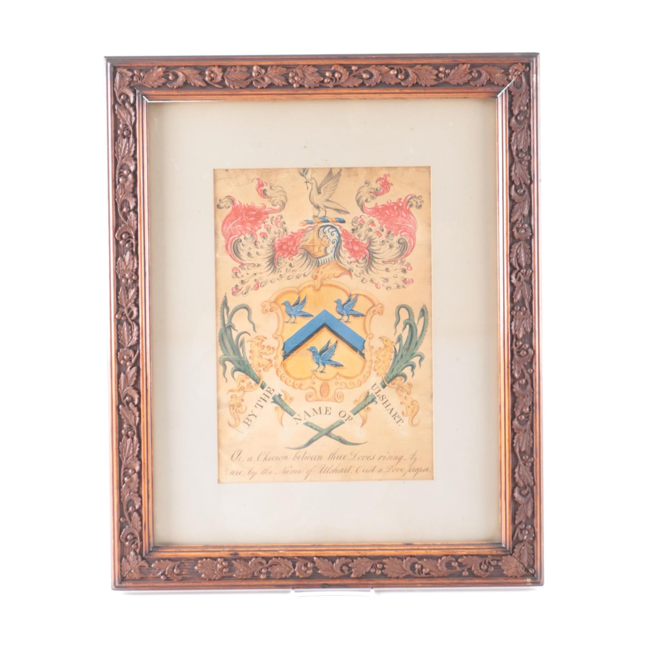 Gouache and Ink Embellished Ulshart Family Crest