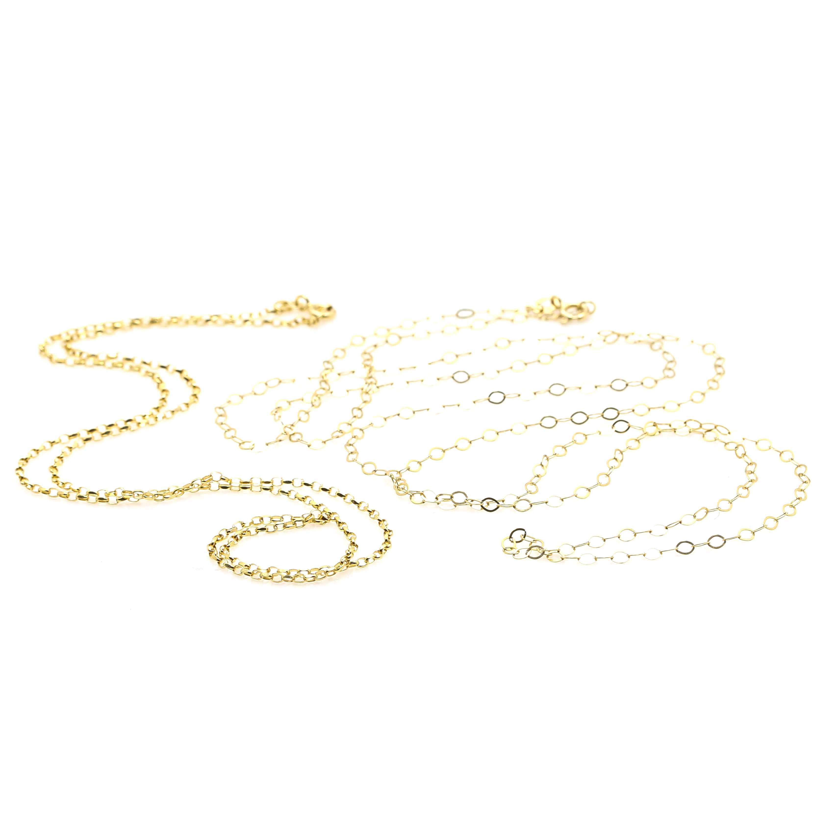 14K Yellow Gold Rolo Chain Necklaces