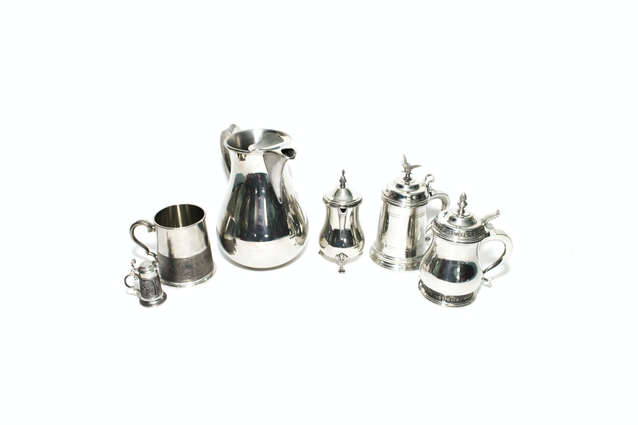Grouping Of Assorted Pewter Serving Dishes