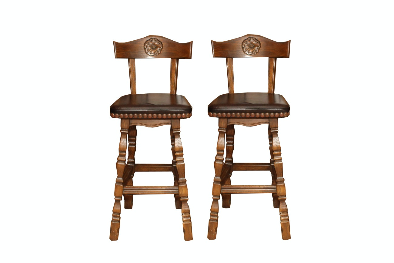 pair of romweber viking oak bar stools