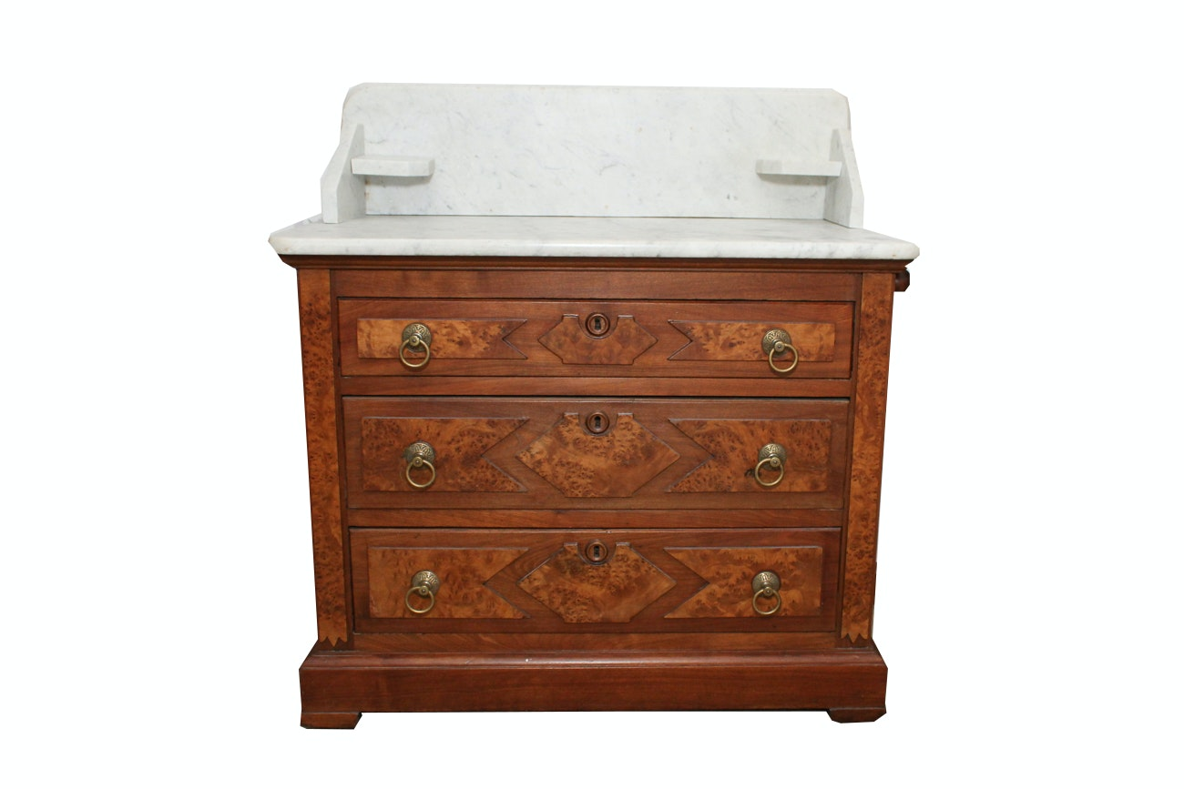 Early 1900s Marble Top Oak Washstand