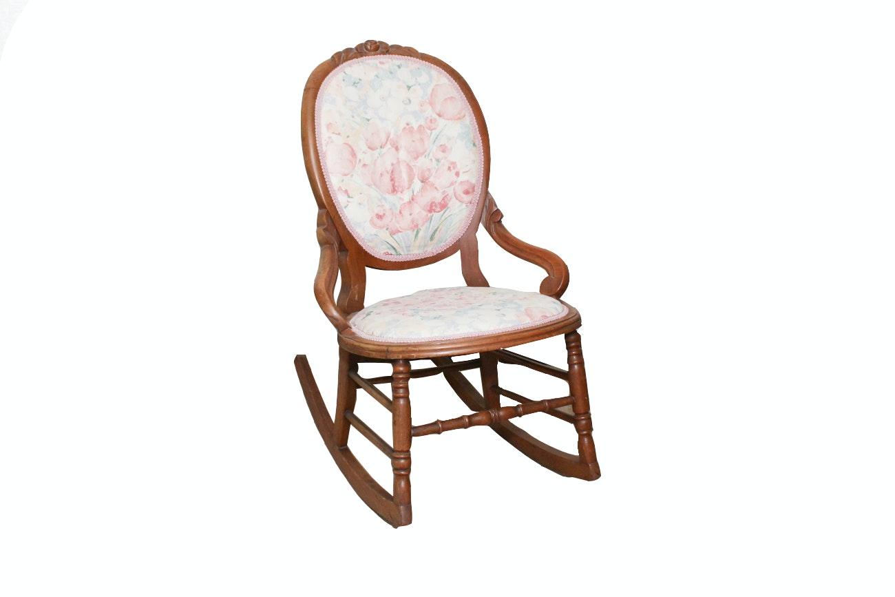 Vintage Upholstered Oak Rocking Chair
