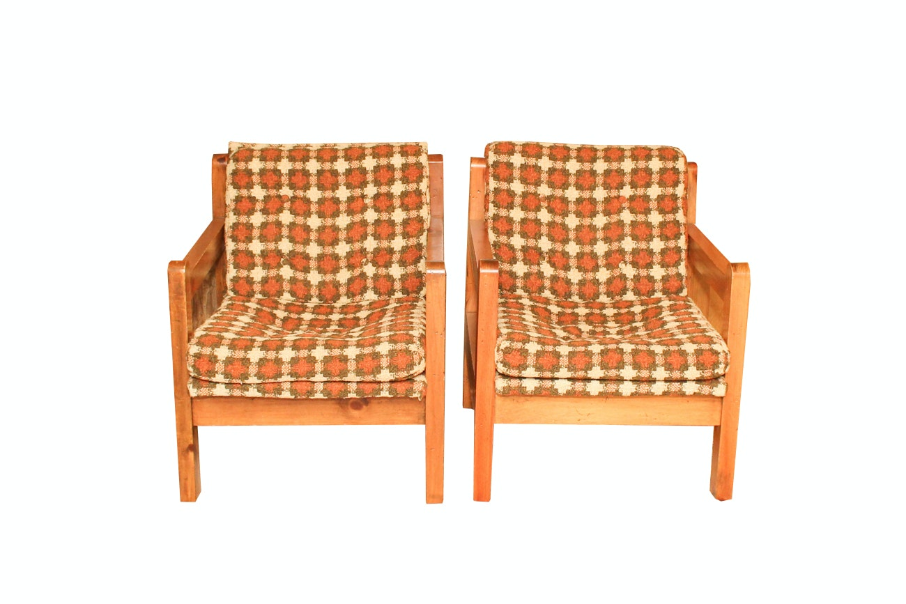 Pair Of Mid-Century Upholstered Pine Armchairs