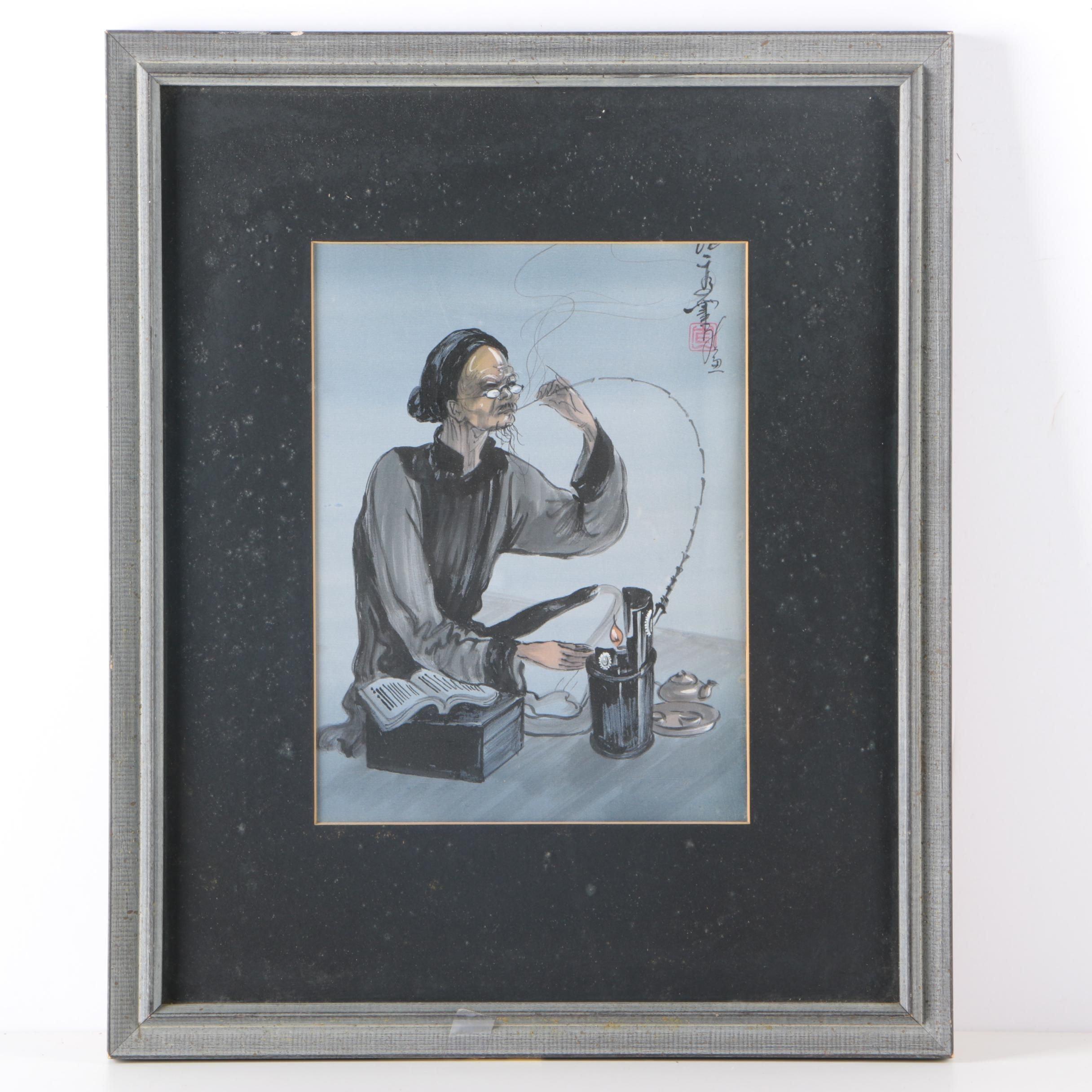 East Asian Gouache on Silk of a Smoking Elder