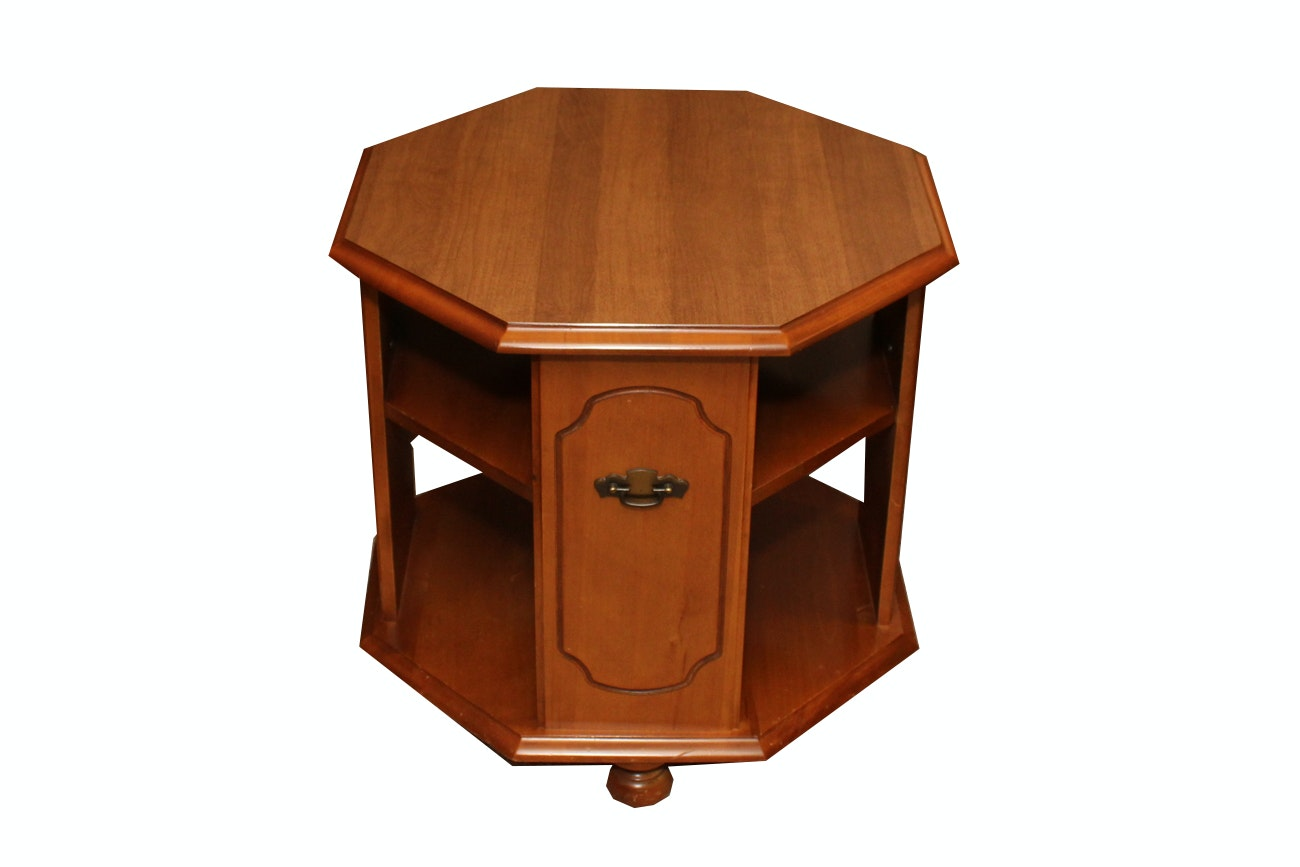 Traditional Style Octagonal Oak Side Table