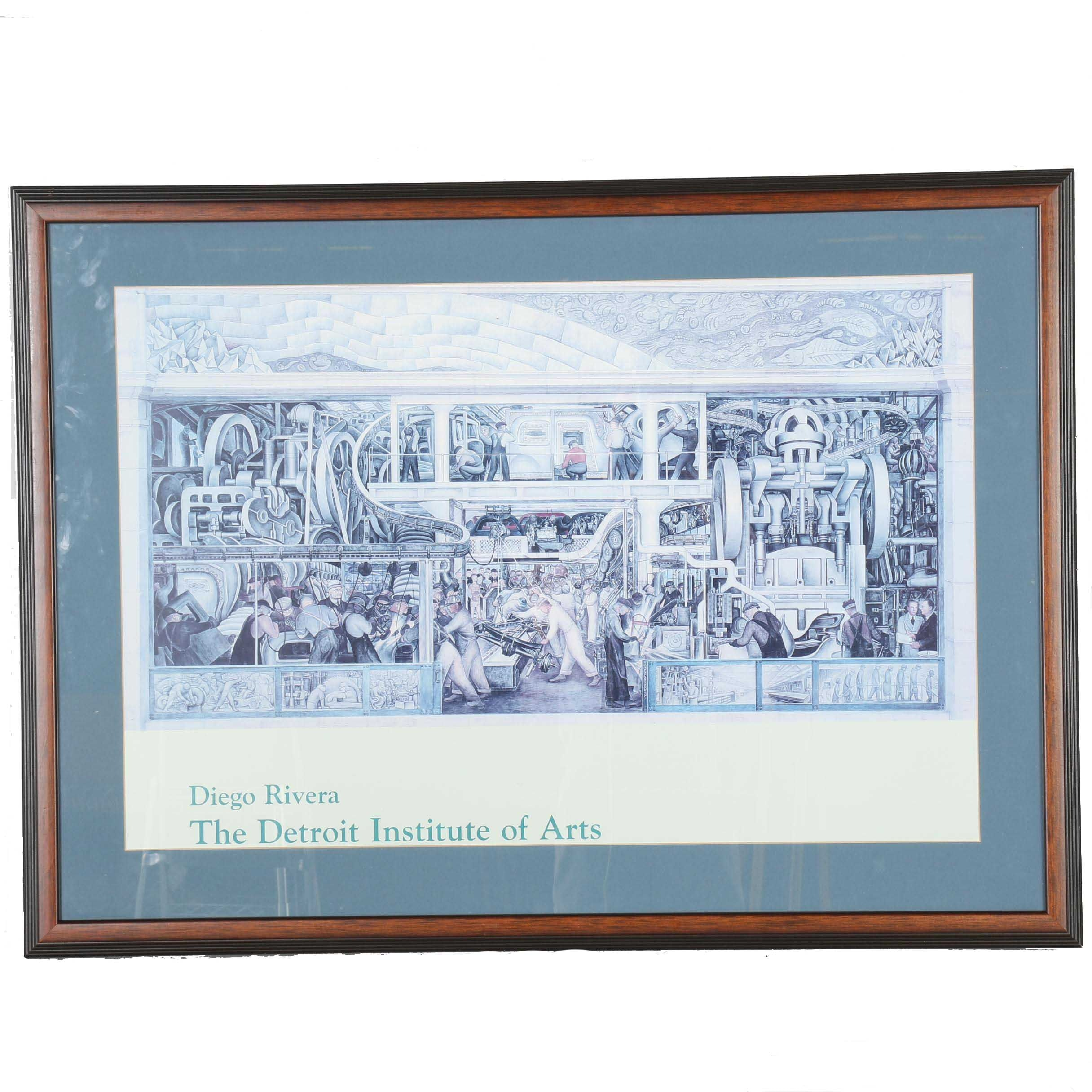 """Offset Lithograph Museum Poster After Diego Rivera """"Detroit Industry, South Wall"""""""