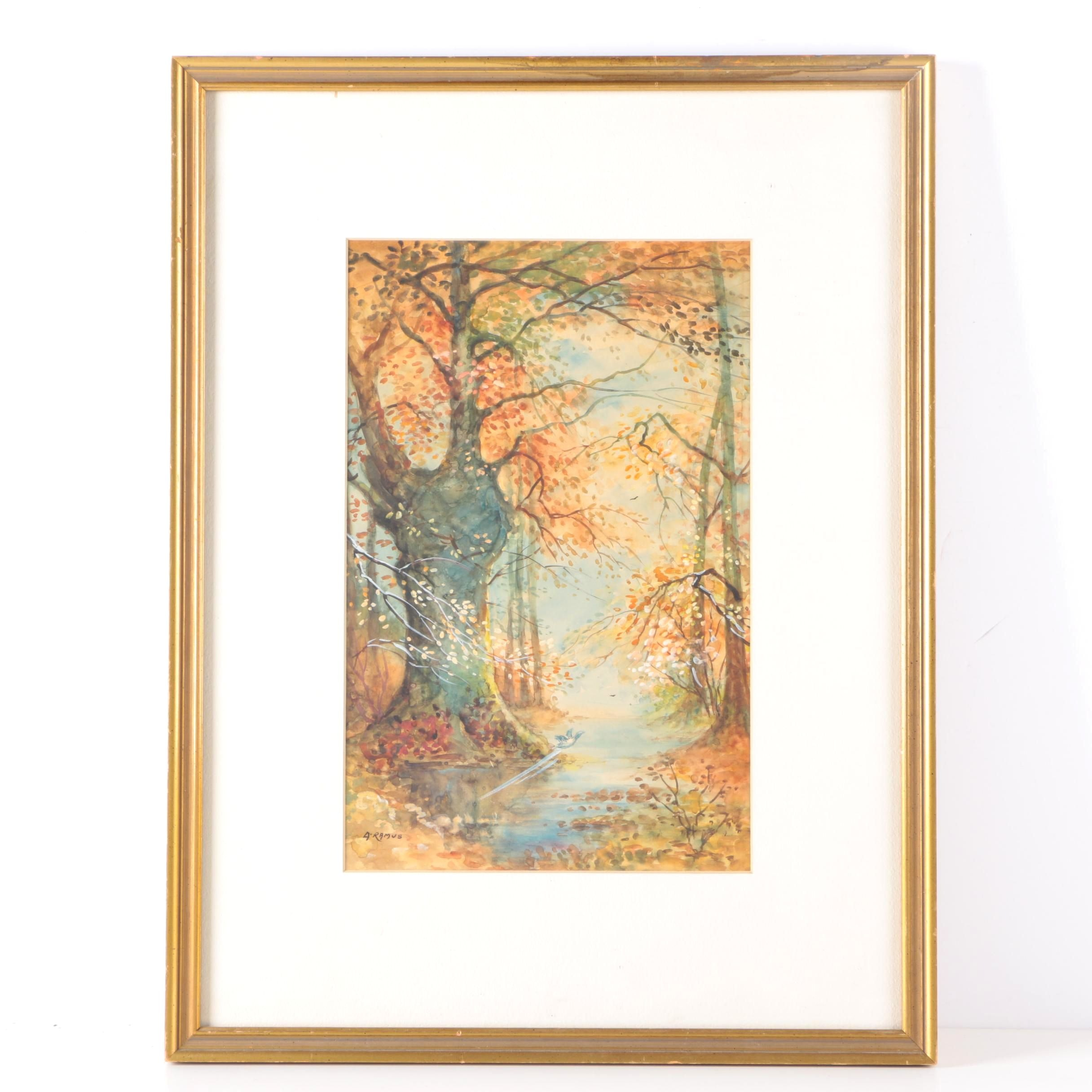 A. Ramus Gouache and Watercolor of Autumn Forest