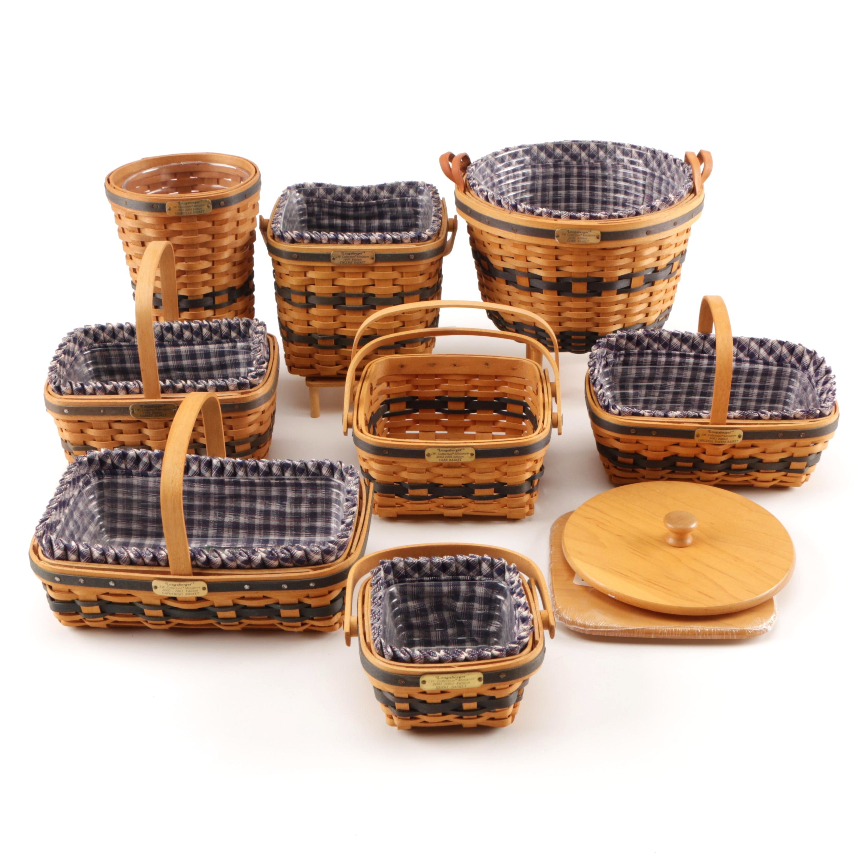 Longaberger JW Miniature Collection Baskets and Liners
