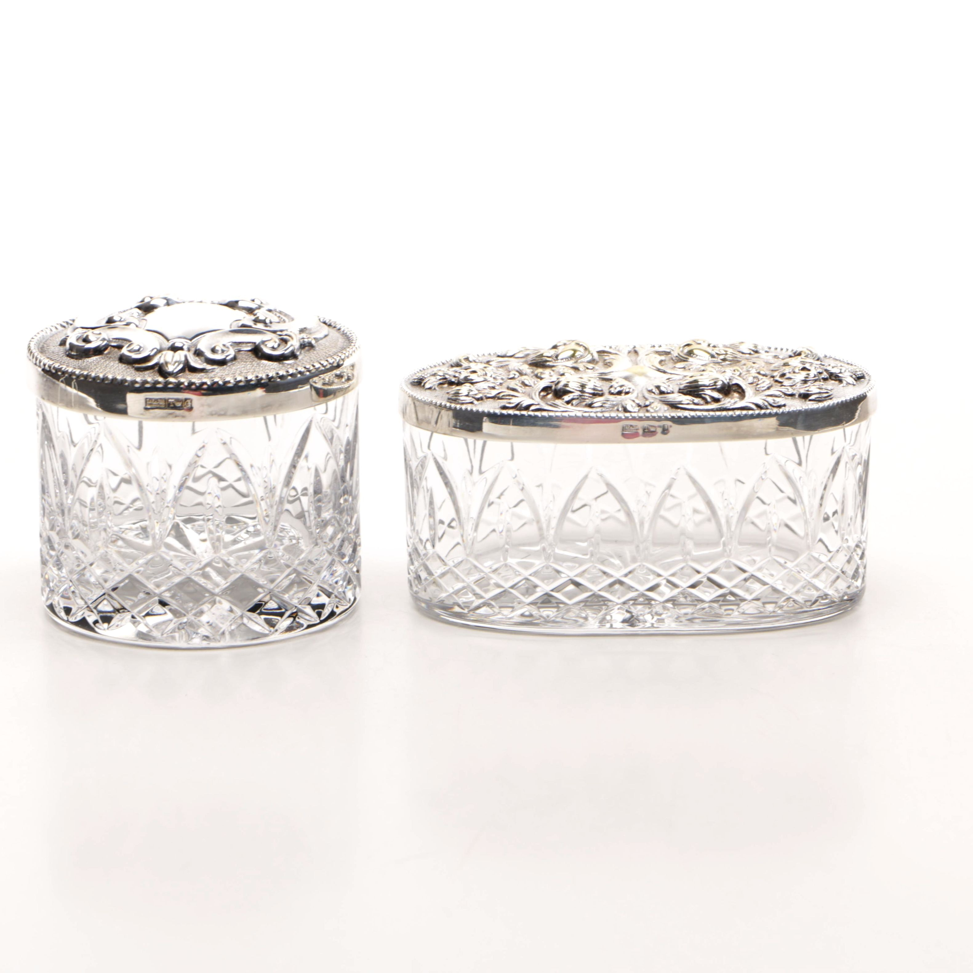 Atlantis Crystal Containers with Plated Silver Lids