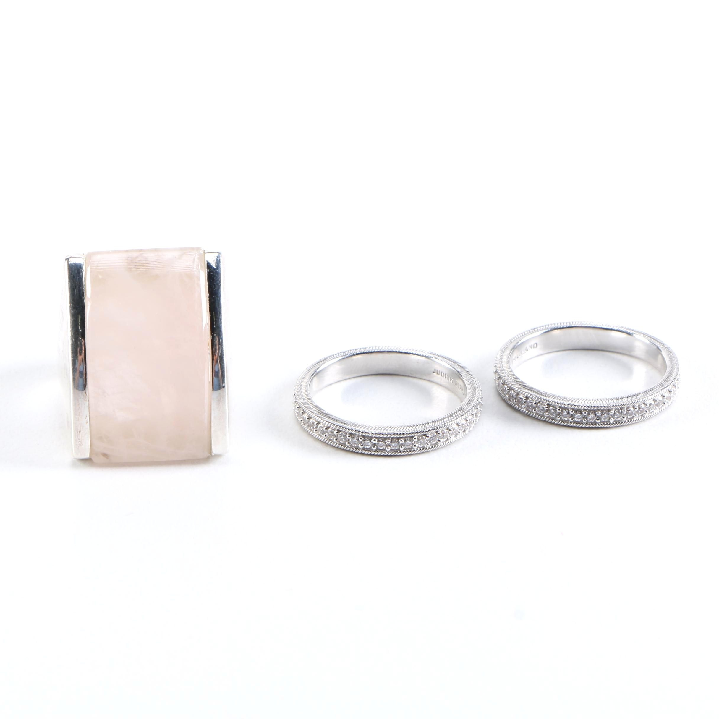 Sterling Silver Rose Quartz and Cubic Zirconia Rings Featuring Judith Ripka