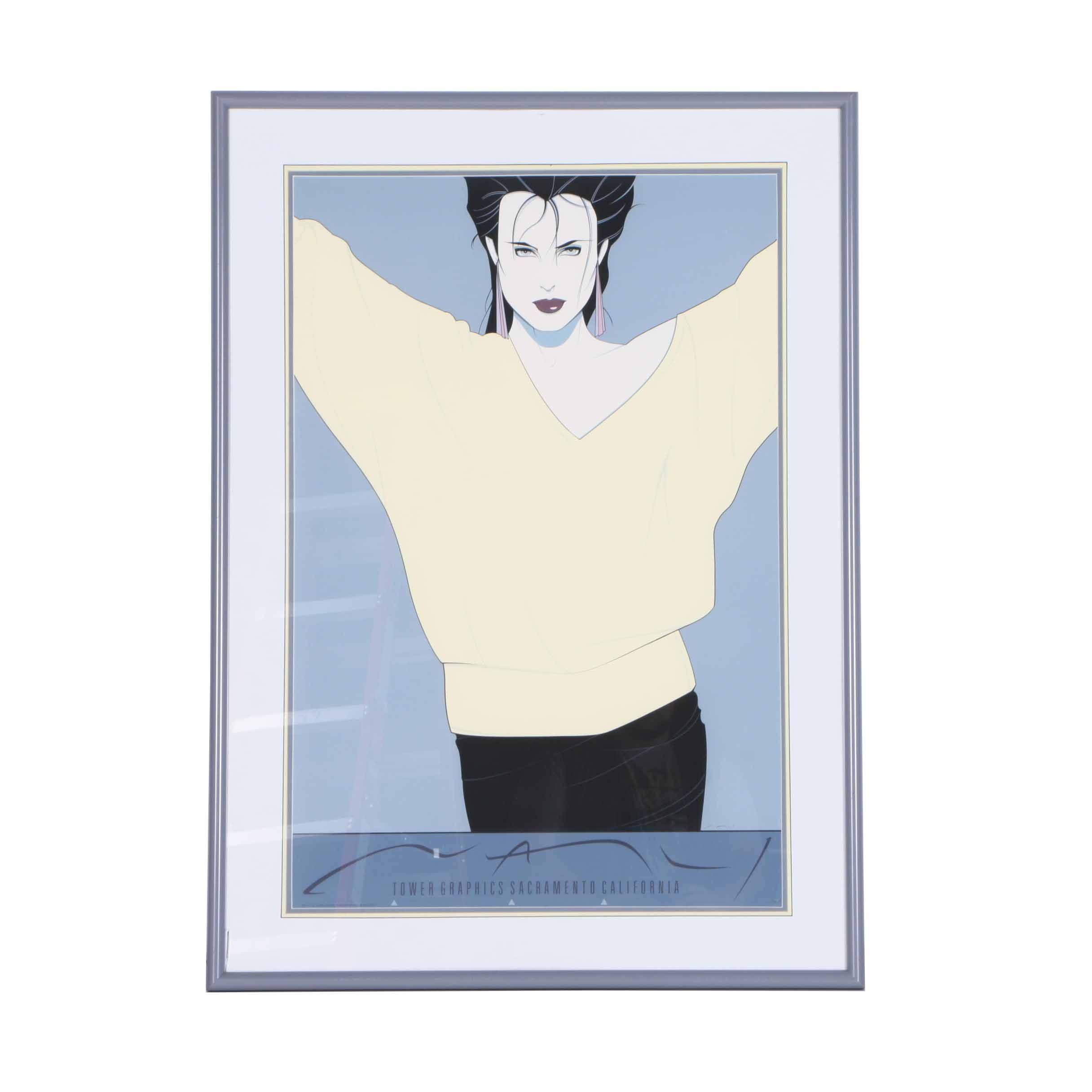 """Serigraph on Paper After Patrick Nagel """"Tower Graphics Sacramento"""""""
