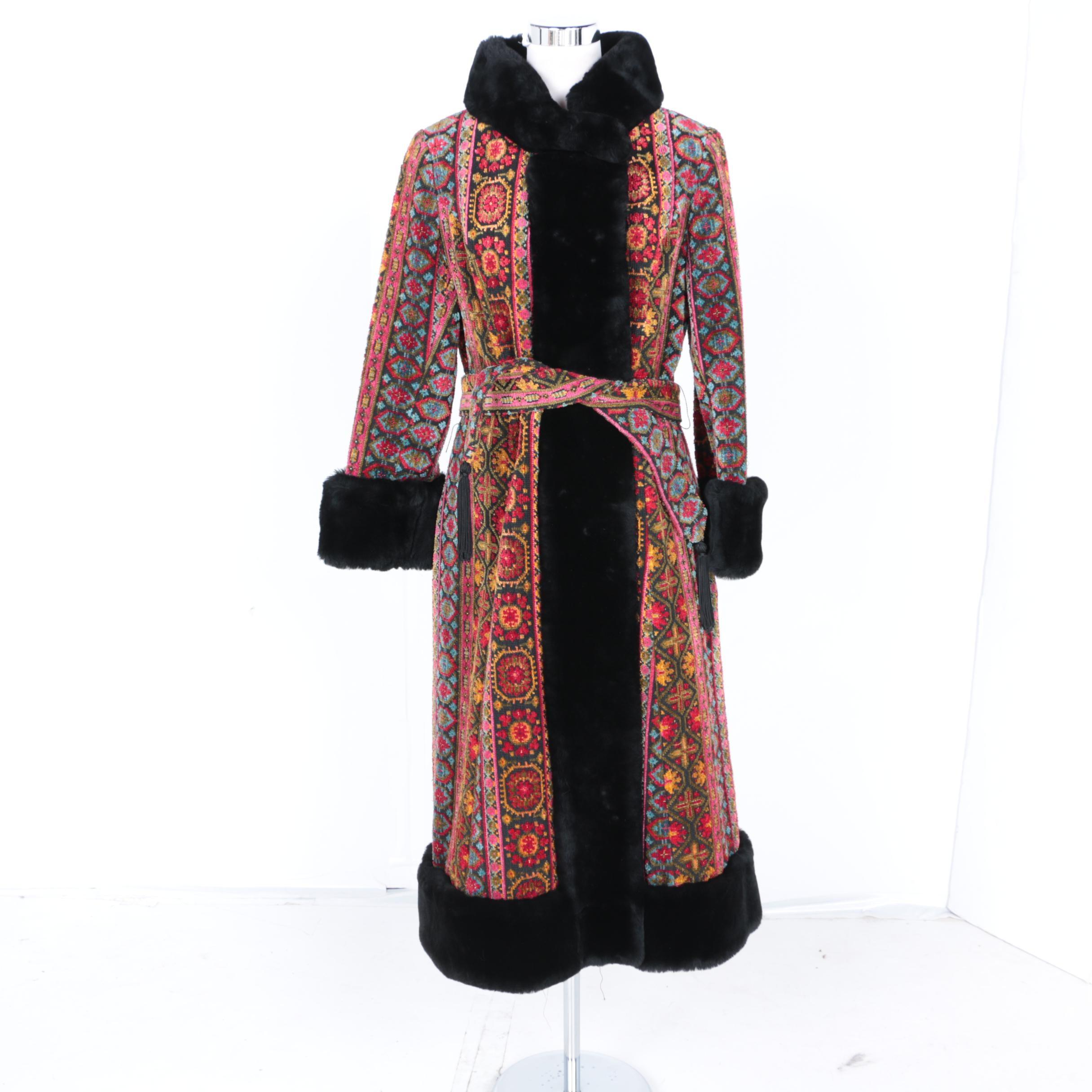 Full Length Carpet Coat With Faux Fur Trim