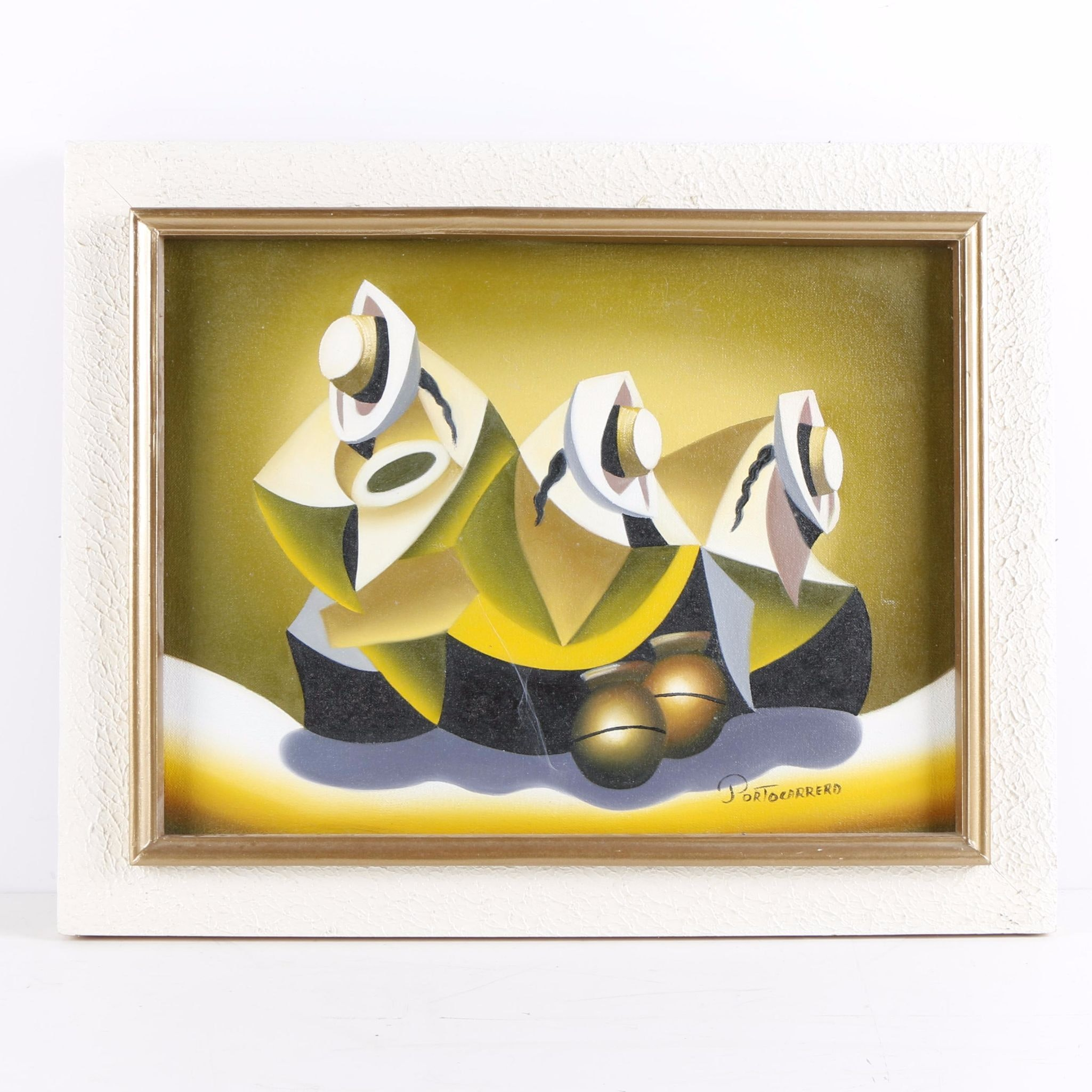 Portocarrero Oil Painting of Three Abstract Figures