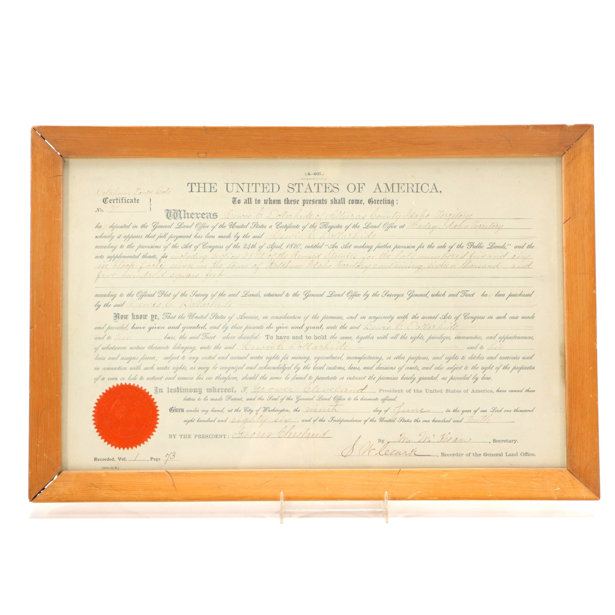 1886  Idaho Territory Land Purchase Signed by President Cleveland
