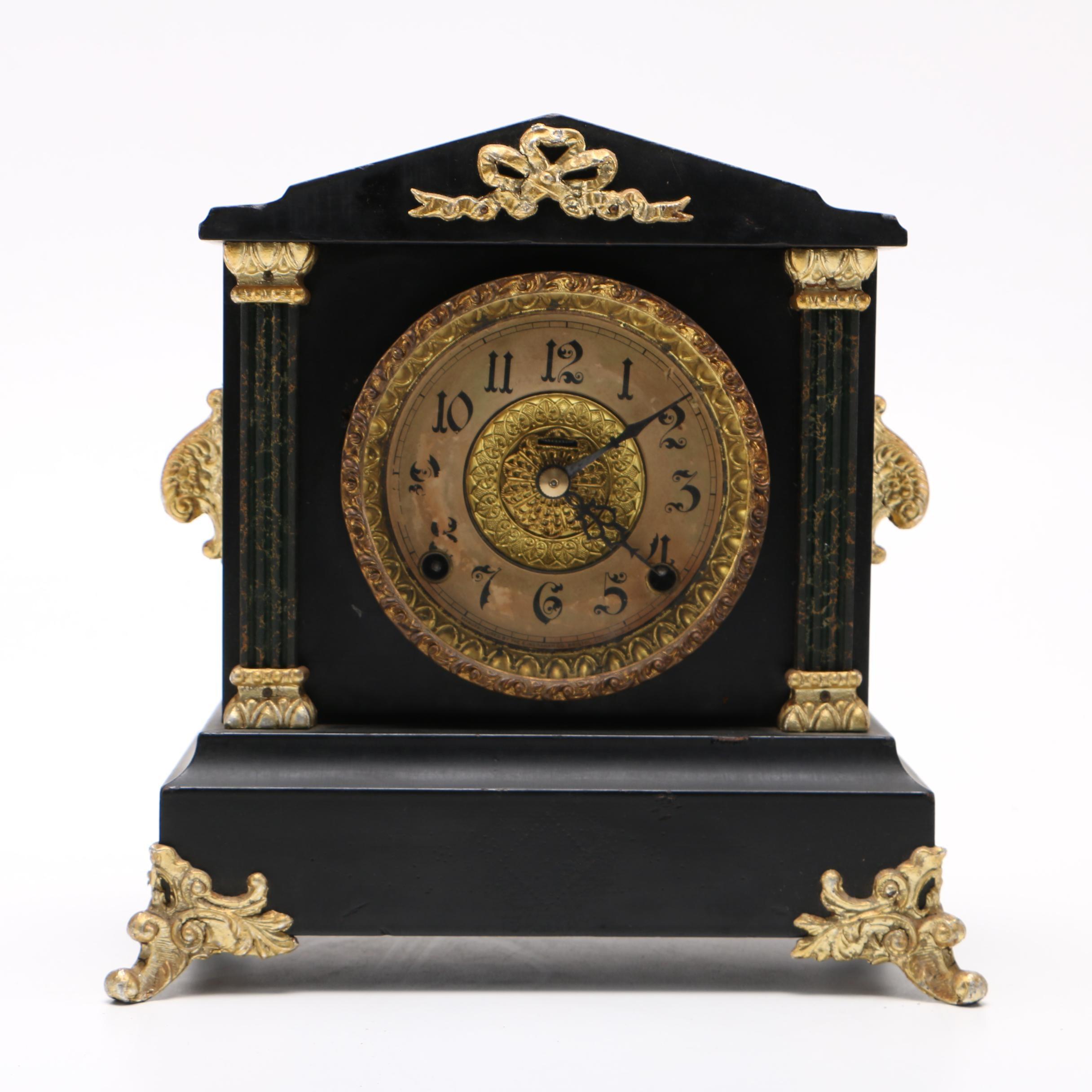 Black and Gold Tone Ornate Mantel Clock
