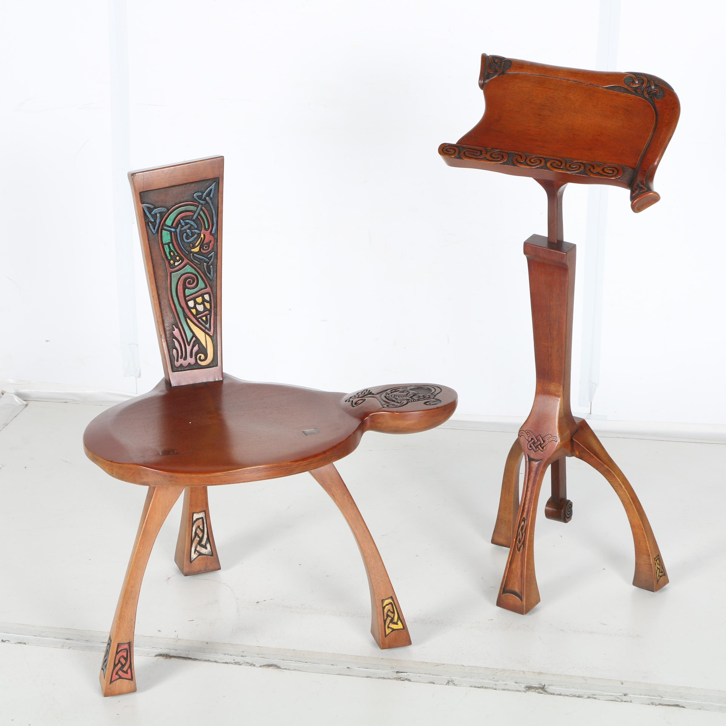 Gabriel Mc Keagney Hand Carved Celtic Music Stand and Chair